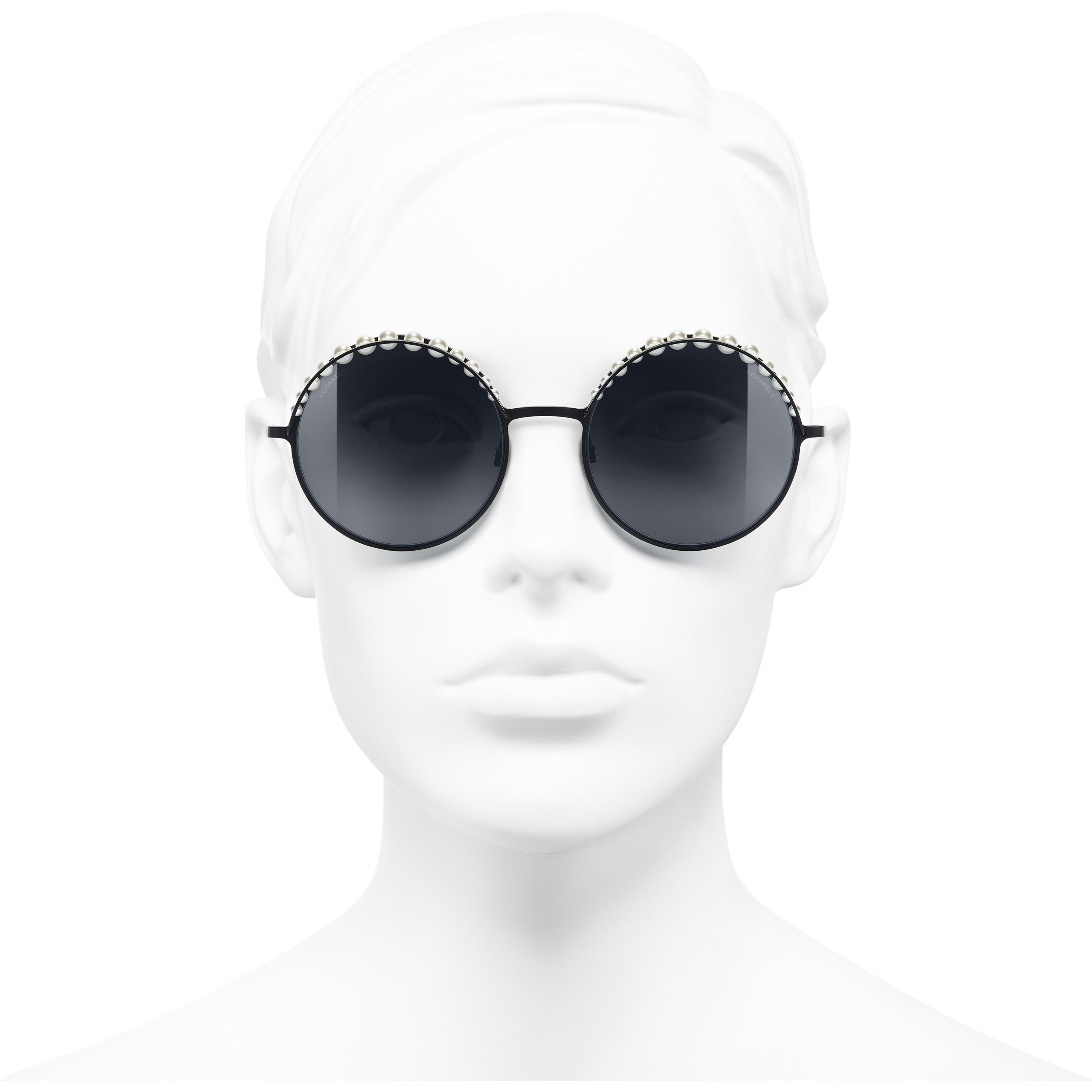 Round Sunglasses - Black - Metal & Imitation Pearls - Worn front view - see standard sized version
