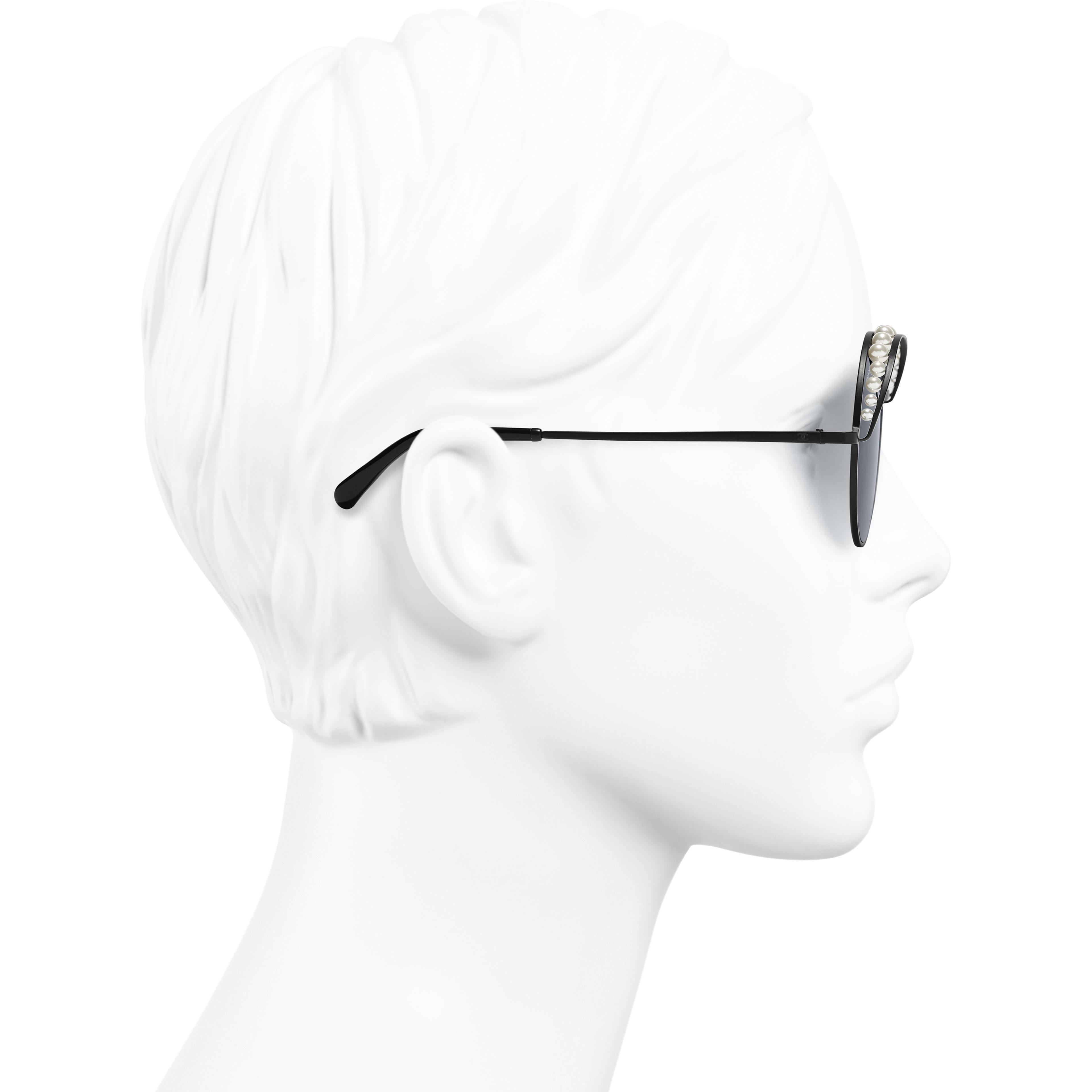 Round Sunglasses - Black - Metal & Imitation Pearls - Worn side view - see standard sized version
