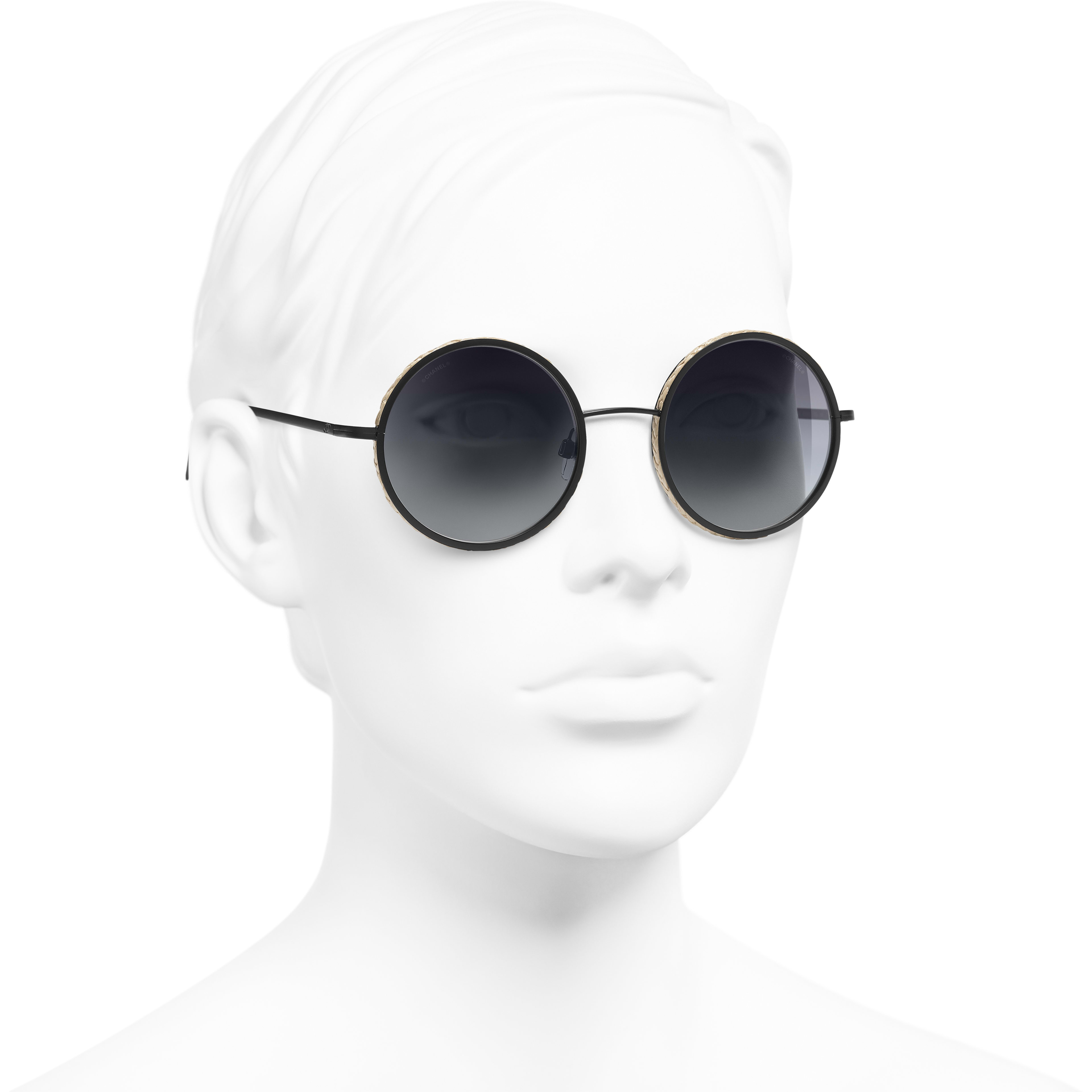 Round Sunglasses - Black - Metal & Rope - Worn 3/4 view - see standard sized version