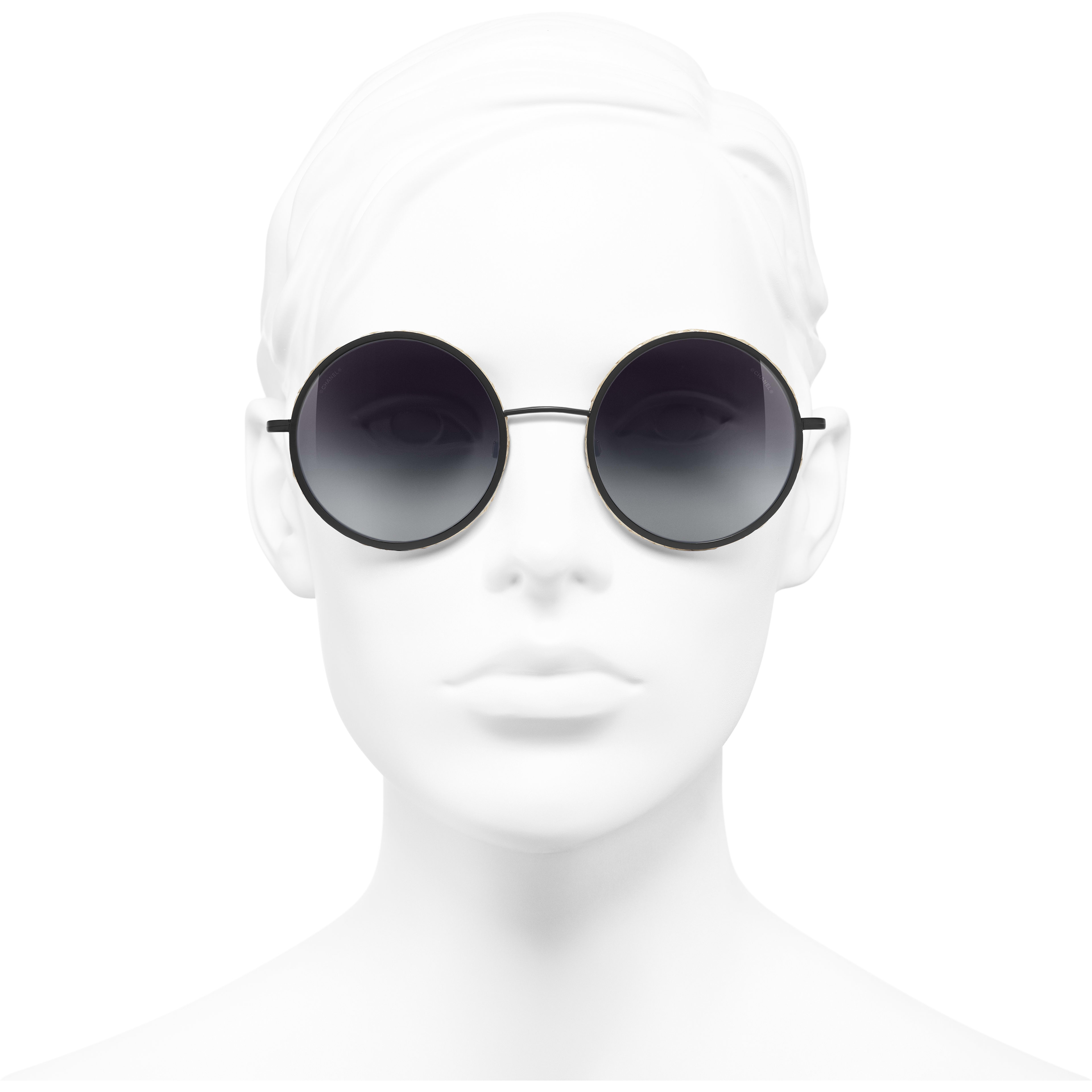 Round Sunglasses - Black - Metal & Rope - CHANEL - Worn front view - see standard sized version