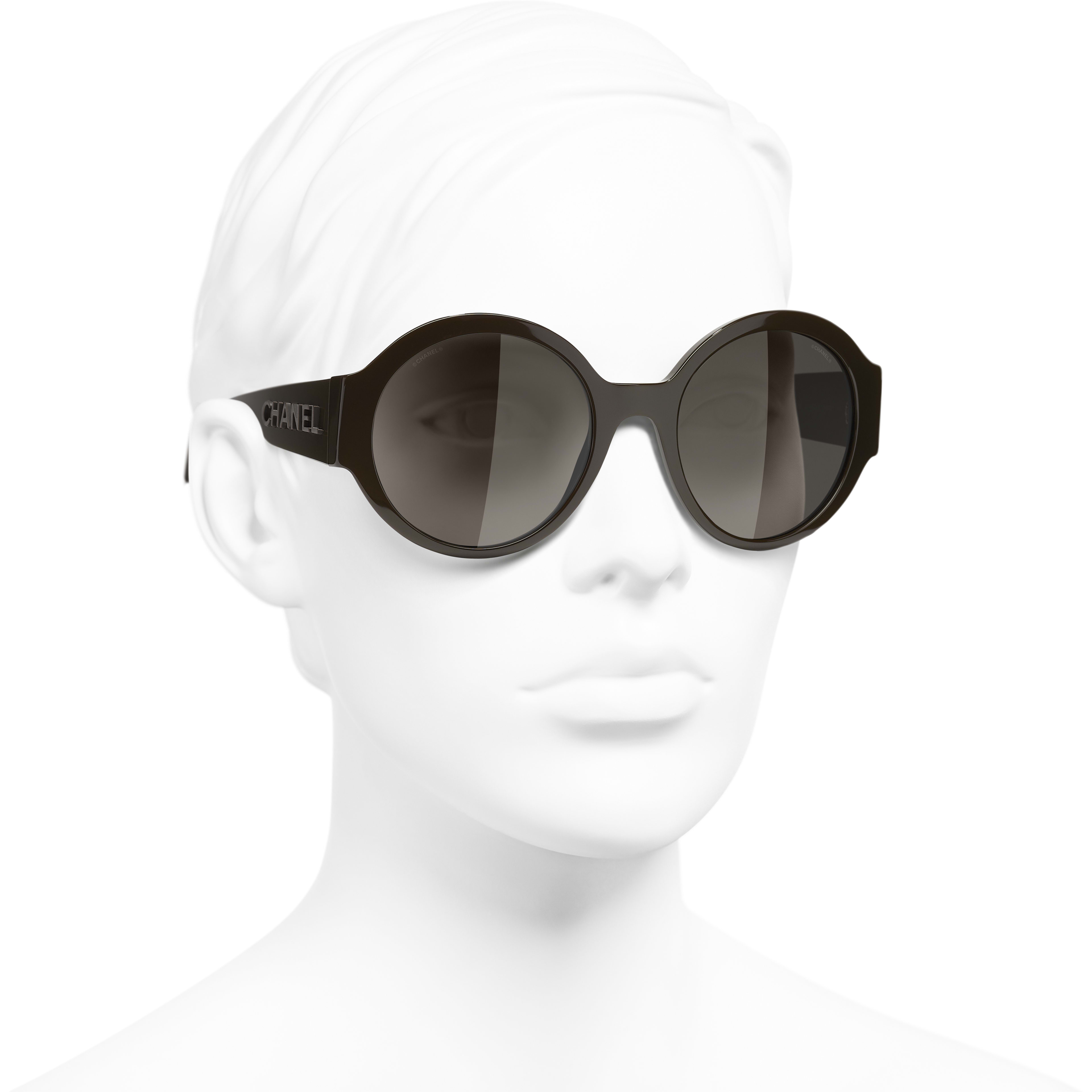Round Sunglasses - Brown - Acetate - CHANEL - Worn 3/4 view - see standard sized version