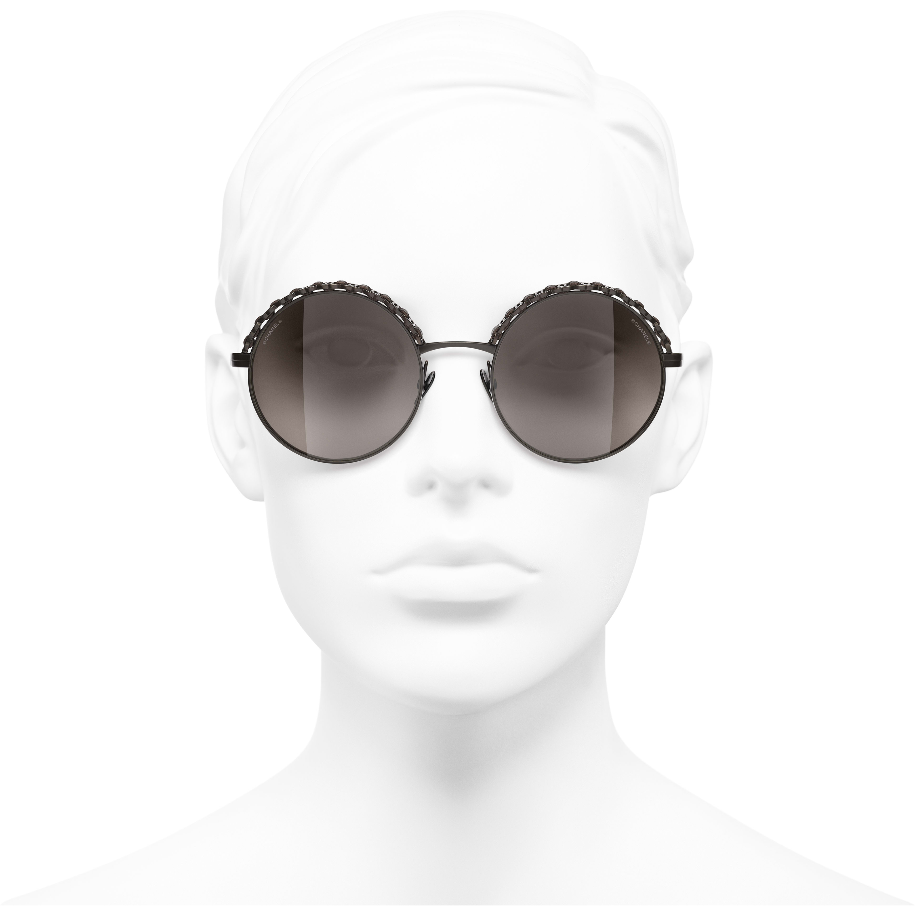 Round Sunglasses - Brown - Metal & Calfskin - CHANEL - Worn front view - see standard sized version