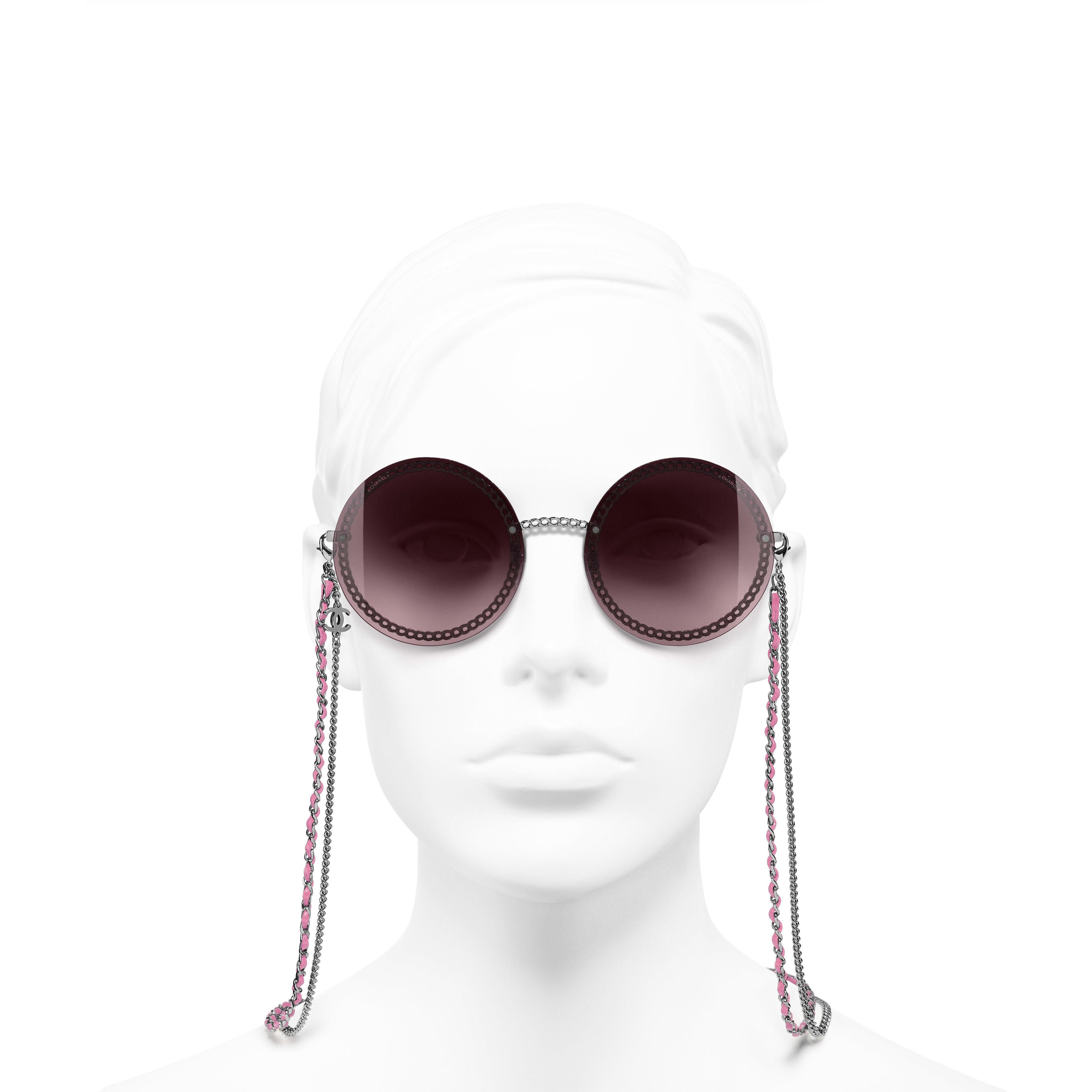 Round Sunglasses - Dark Silver - Metal & Calfskin - Worn front view - see standard sized version