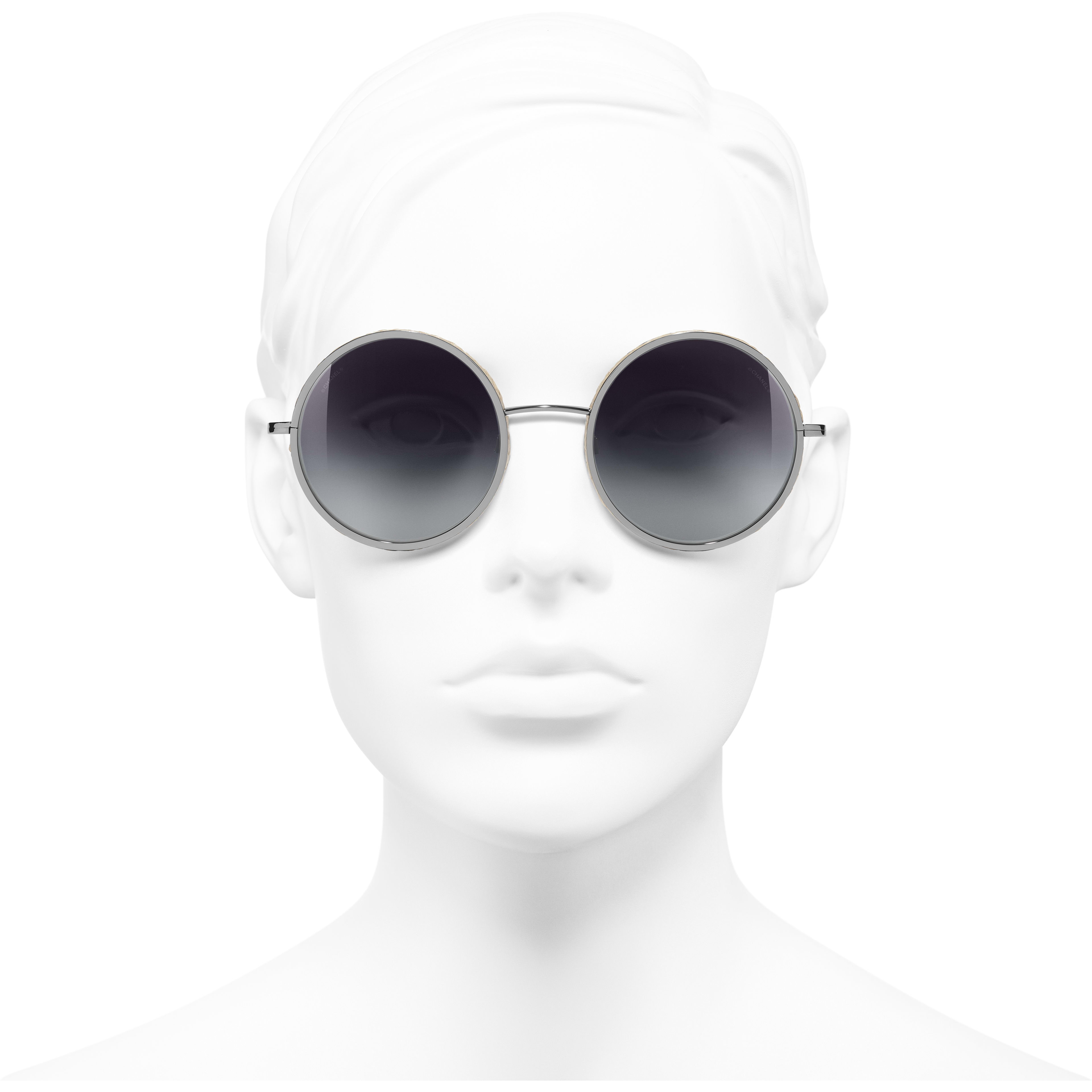 Round Sunglasses - Dark Silver - Metal & Rope - Worn front view - see standard sized version