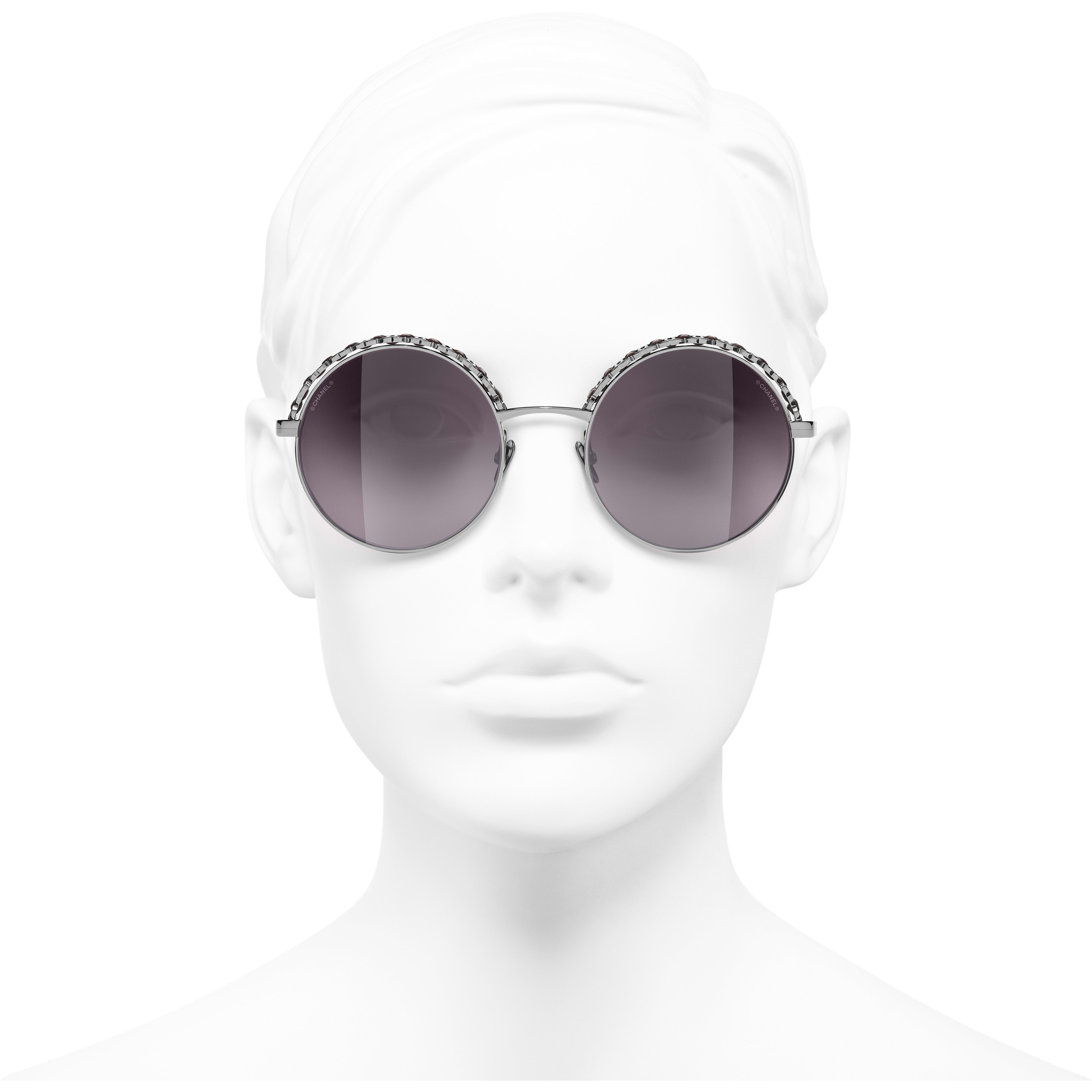 Round Sunglasses - Dark Silver & Red - Metal & Calfskin - CHANEL - Worn front view - see standard sized version