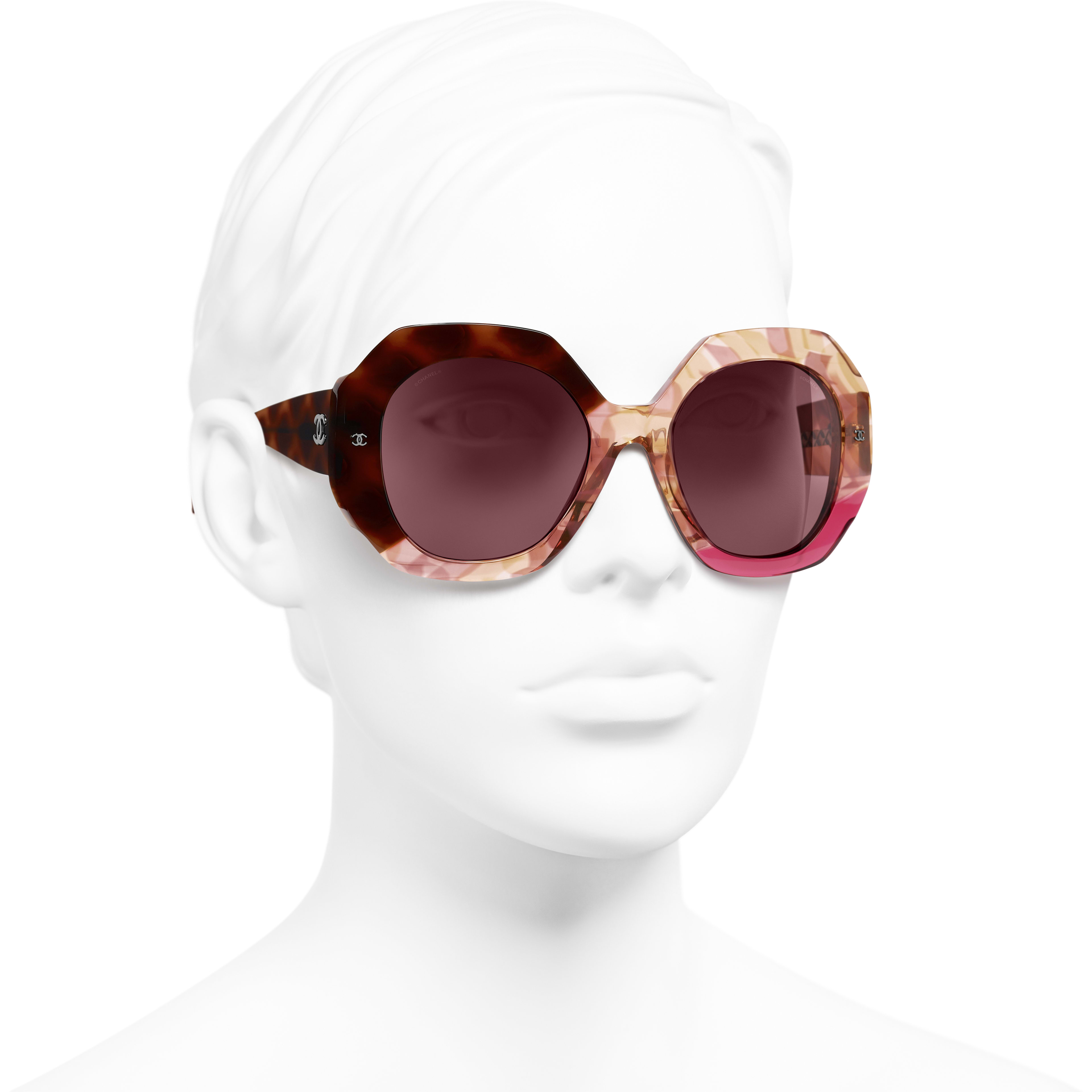 Round Sunglasses - Dark Tortoise & Pink - Acetate - CHANEL - Worn 3/4 view - see standard sized version