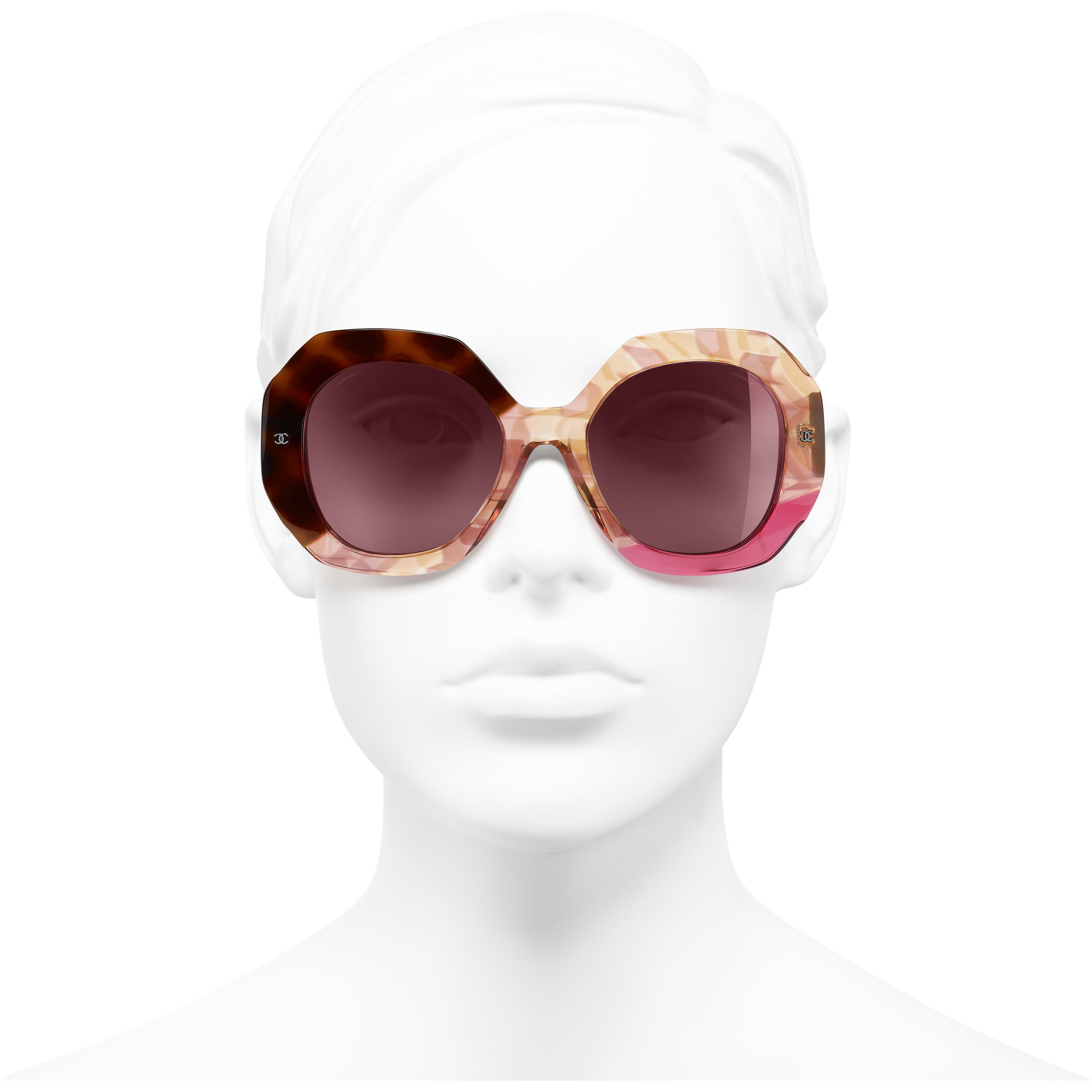 Round Sunglasses - Dark Tortoise & Pink - Acetate - CHANEL - Worn front view - see standard sized version