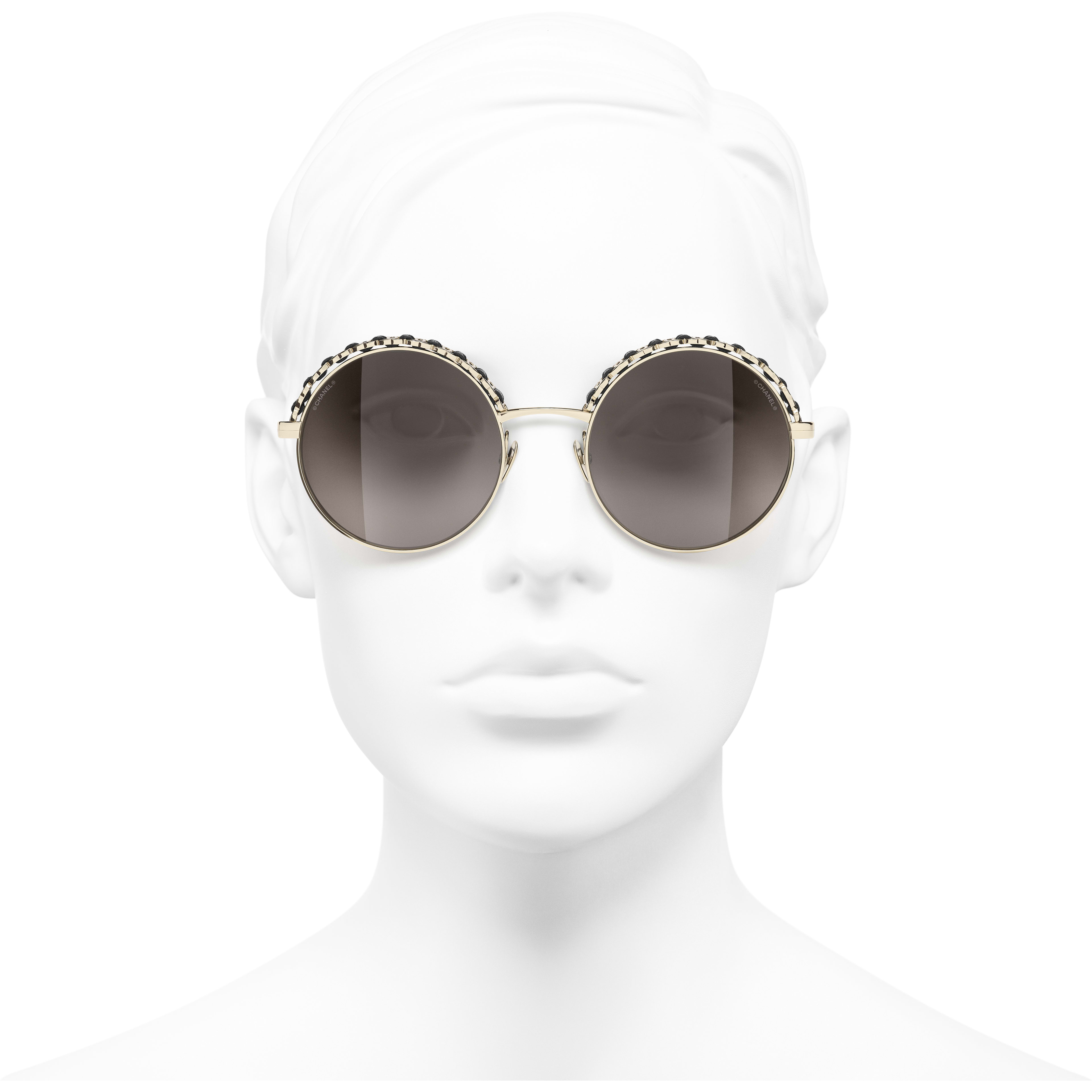 Round Sunglasses - Gold & Black - Metal & Calfskin - CHANEL - Worn front view - see standard sized version