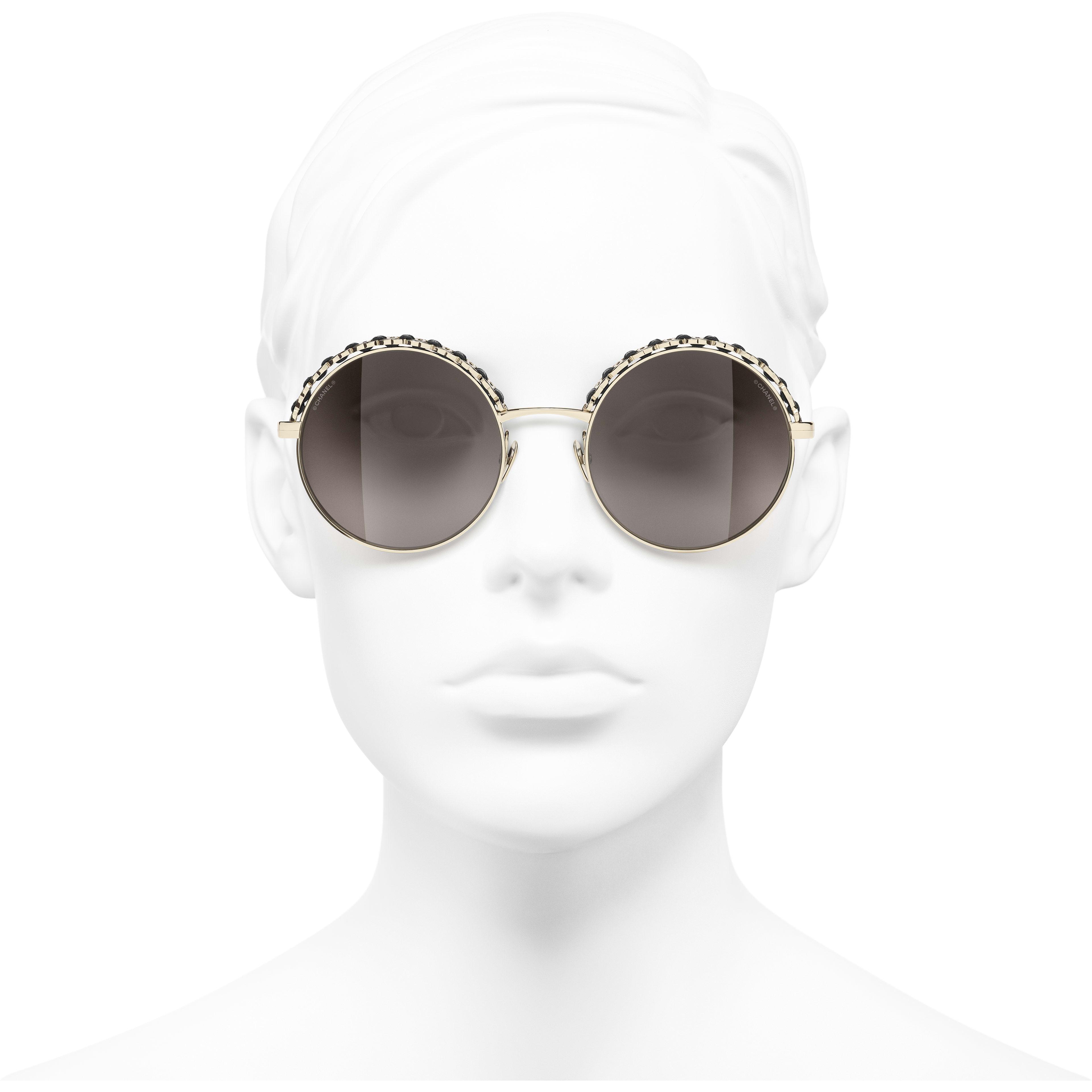 Óculos De Sol Redondos - Dourado & Preto - Metal & Calfskin - CHANEL - Vista de frente - ver a versão em tamanho standard
