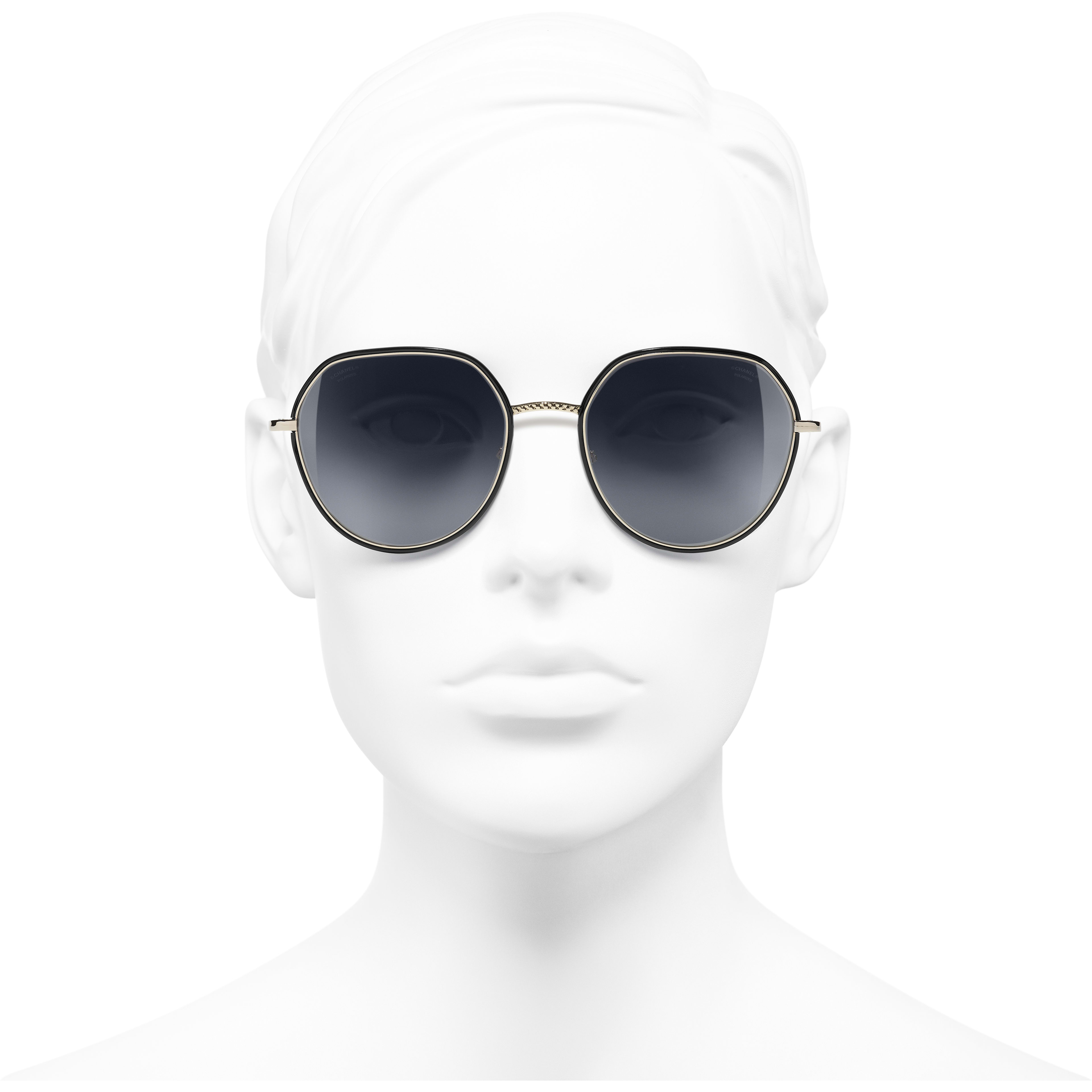 Round Sunglasses - Gold & Black - Metal - Polarized Lenses - Worn front view - see standard sized version