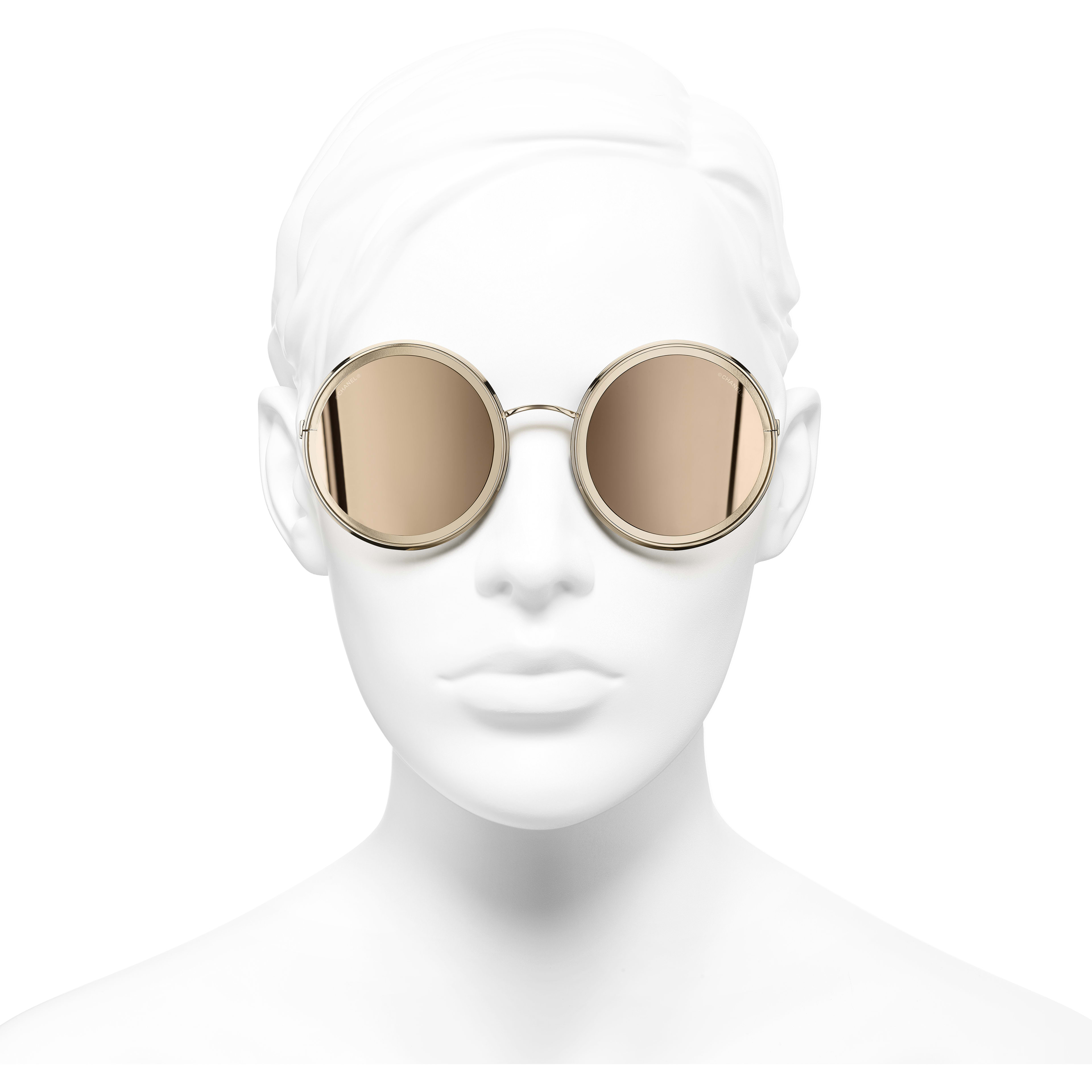 Round Sunglasses - Gold - Metal - 18-Karat Gold Lenses - Worn front view - see standard sized version