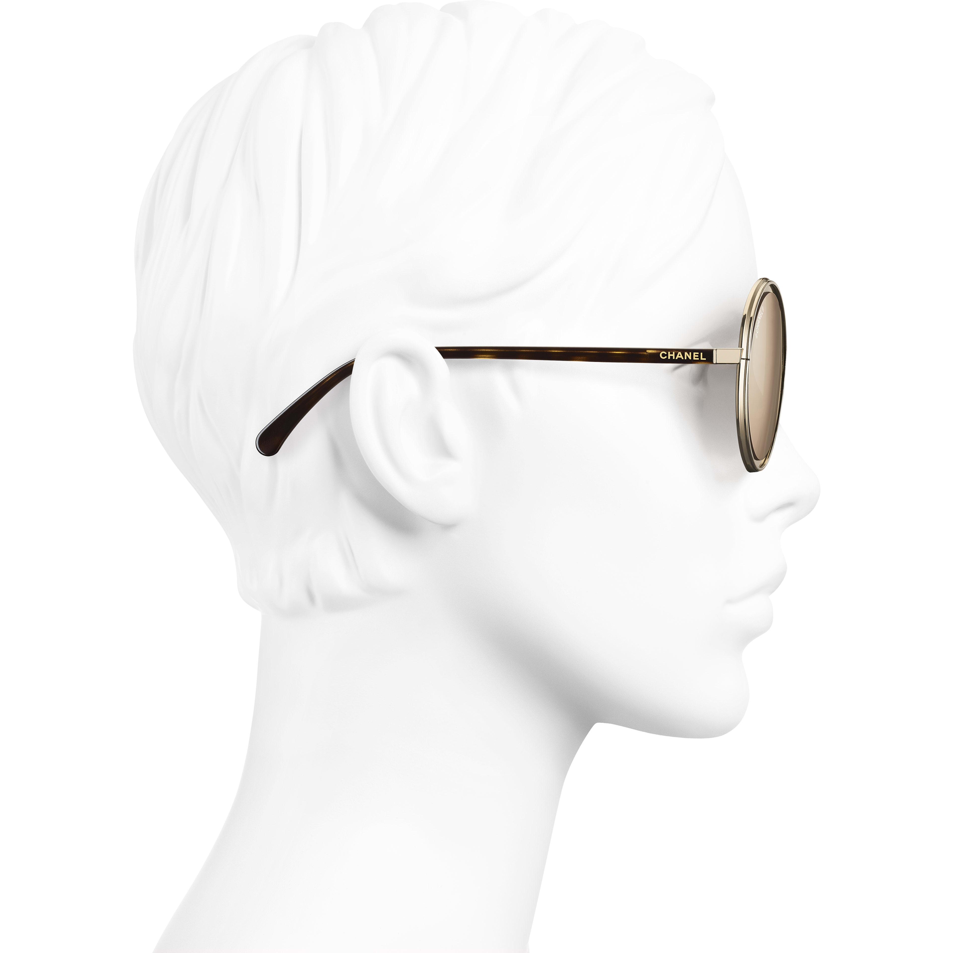 Round Sunglasses - Gold - Metal - 18-Karat Gold Lenses - Worn side view - see standard sized version
