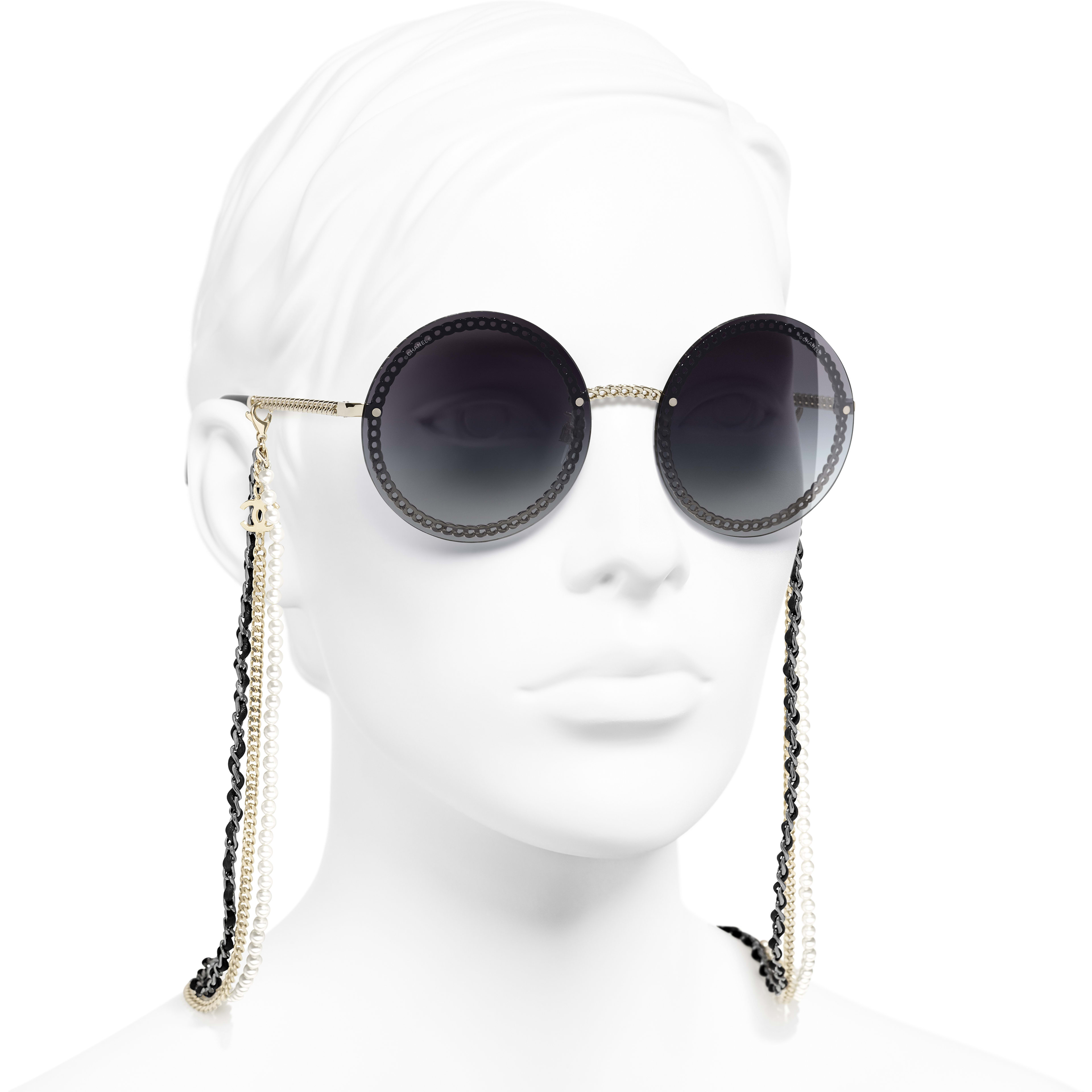 Round Sunglasses - Gold - Metal, Calfskin & Imitation Pearls - CHANEL - Worn 3/4 view - see standard sized version