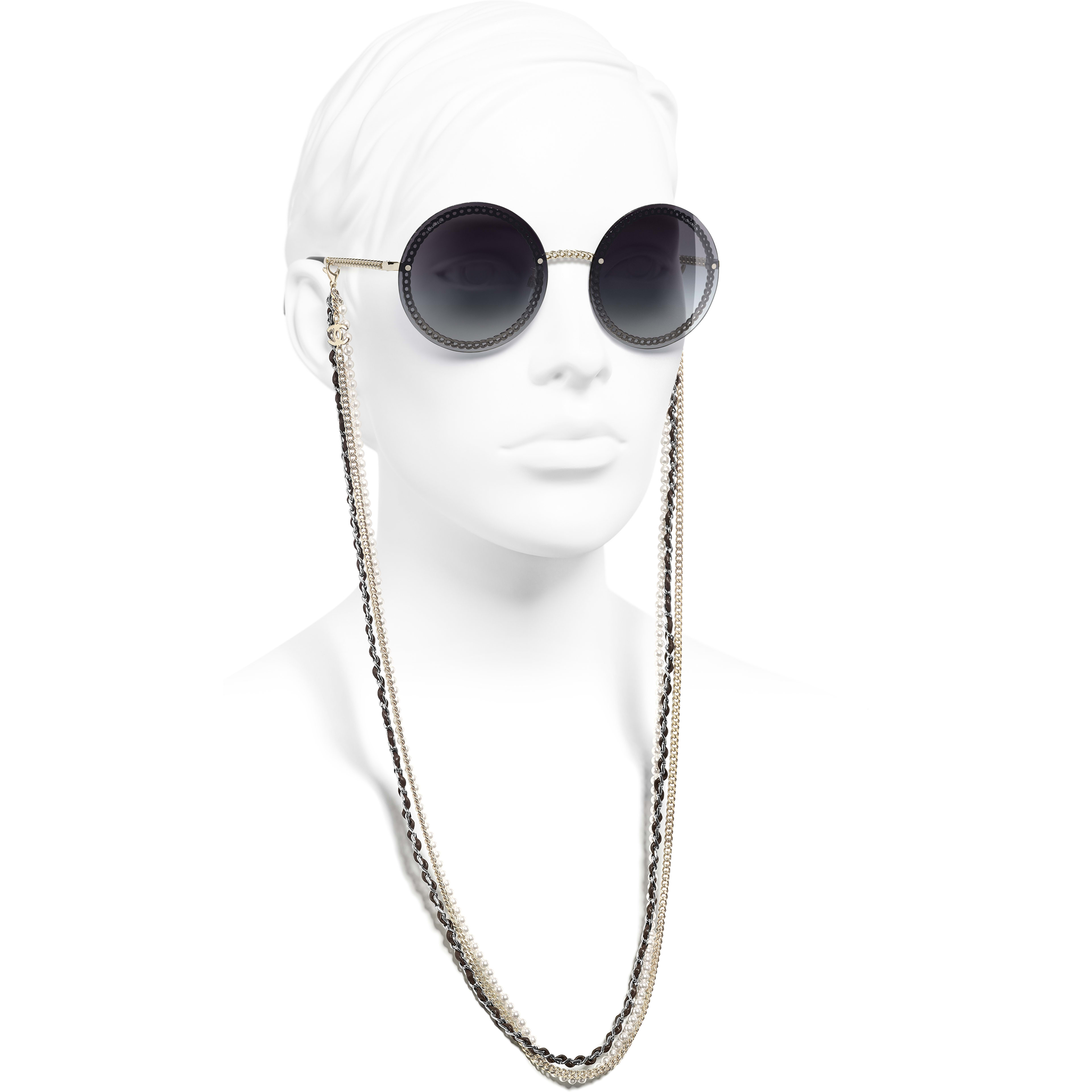 Round Sunglasses - Gold - Metal, Calfskin & Imitation Pearls - CHANEL - Worn side view - see standard sized version