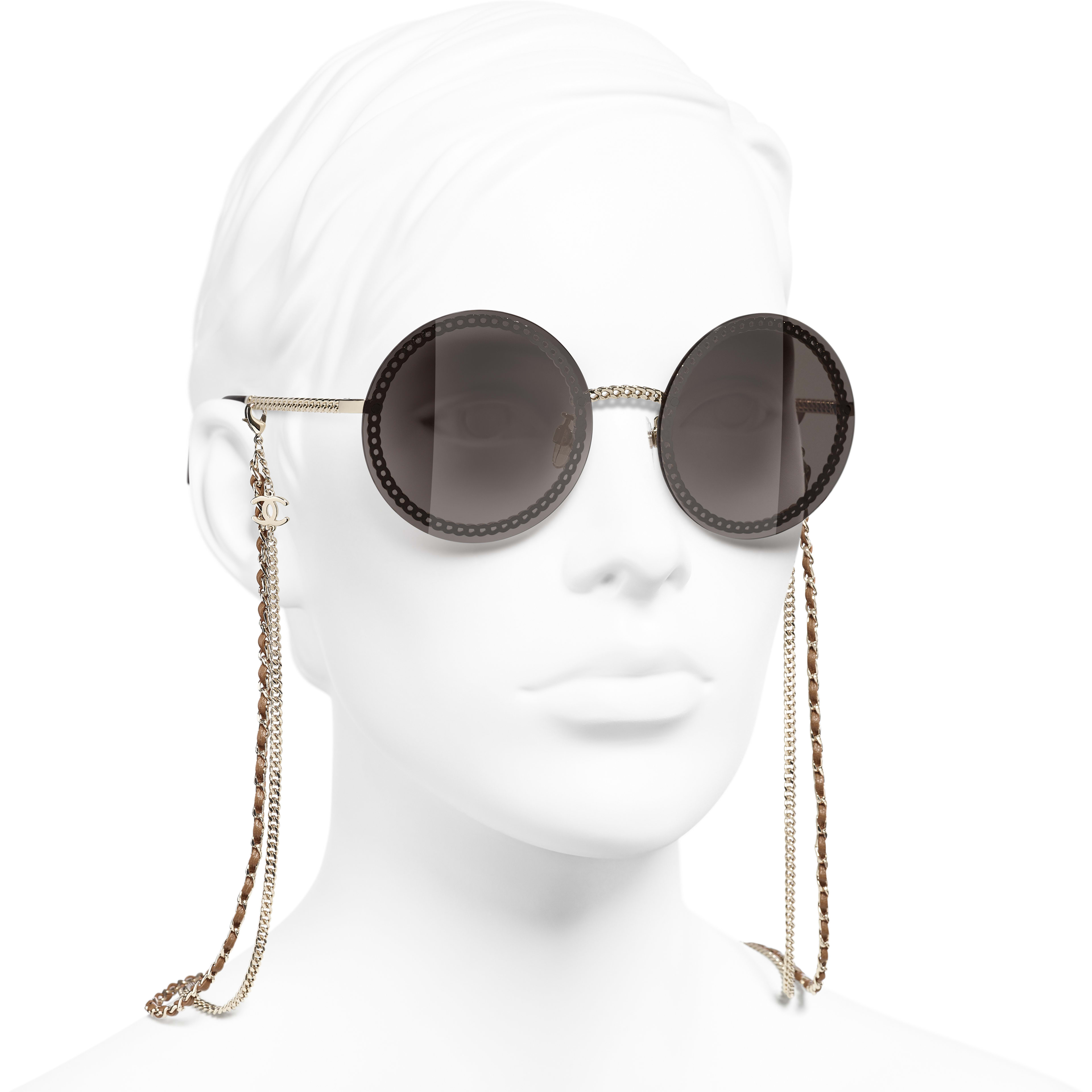 Round Sunglasses - Gold - Metal & Calfskin - CHANEL - Worn 3/4 view - see standard sized version