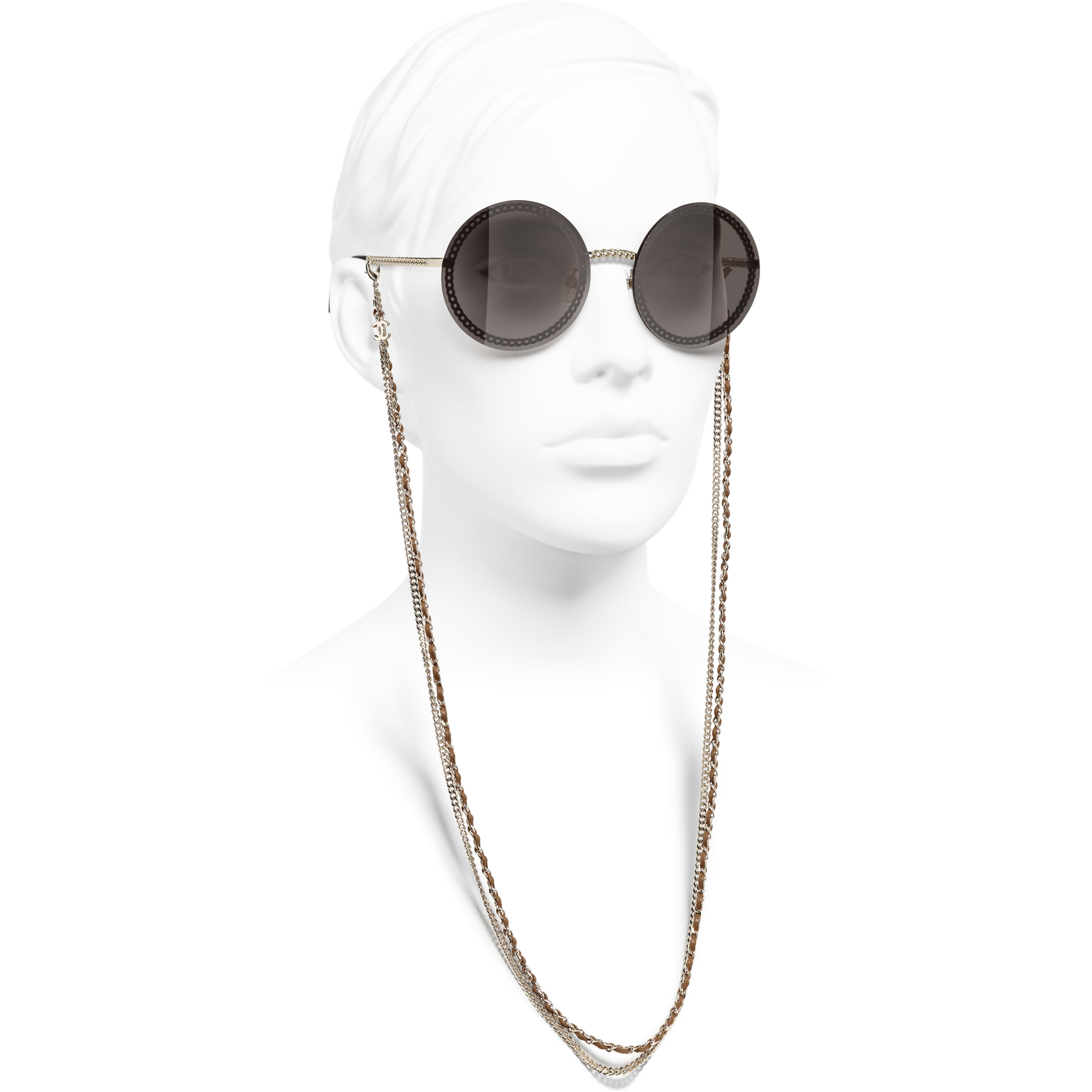 Round Sunglasses - Gold - Metal & Calfskin - CHANEL - Worn side view - see standard sized version