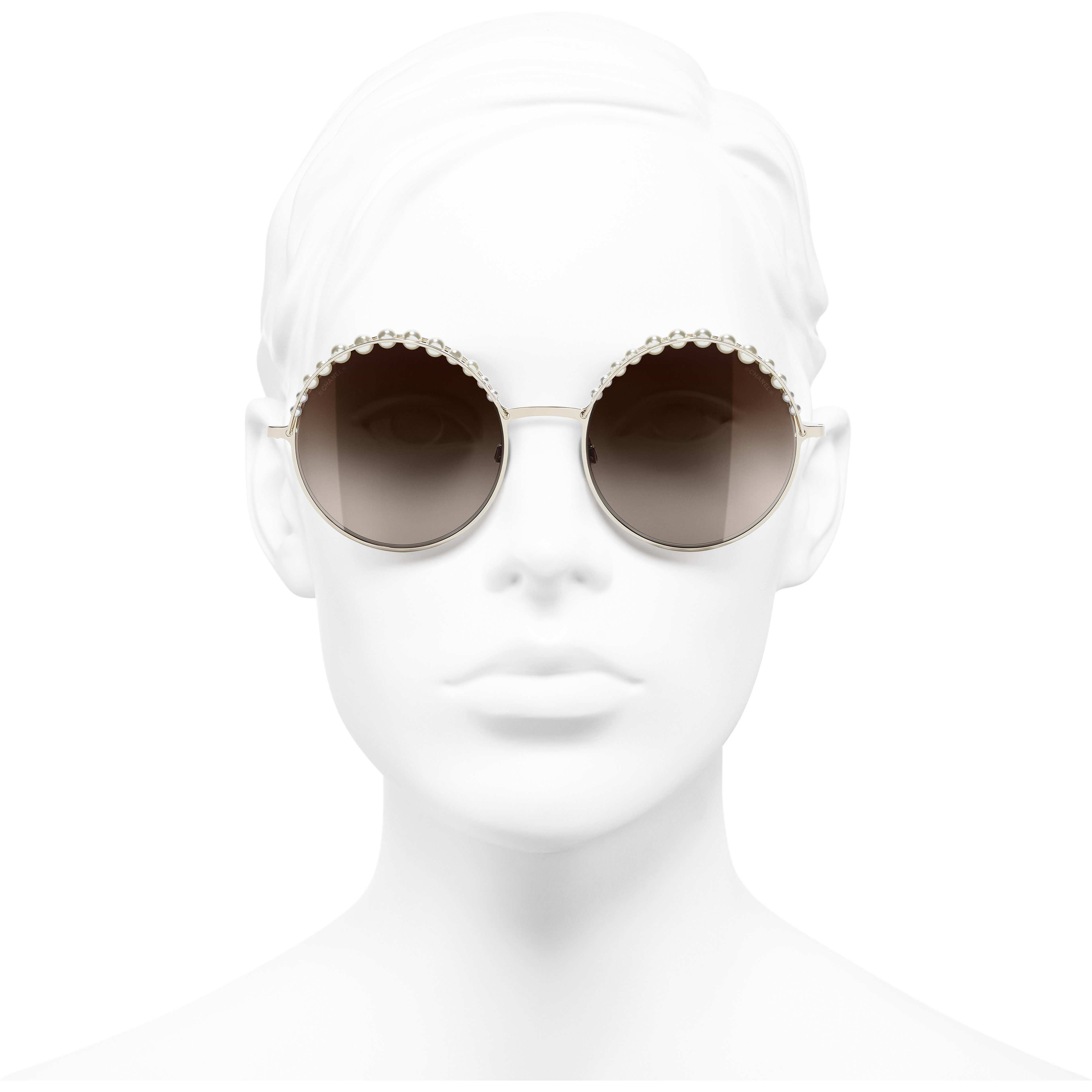 Round Sunglasses - Gold - Metal & Imitation Pearls - Worn front view - see standard sized version