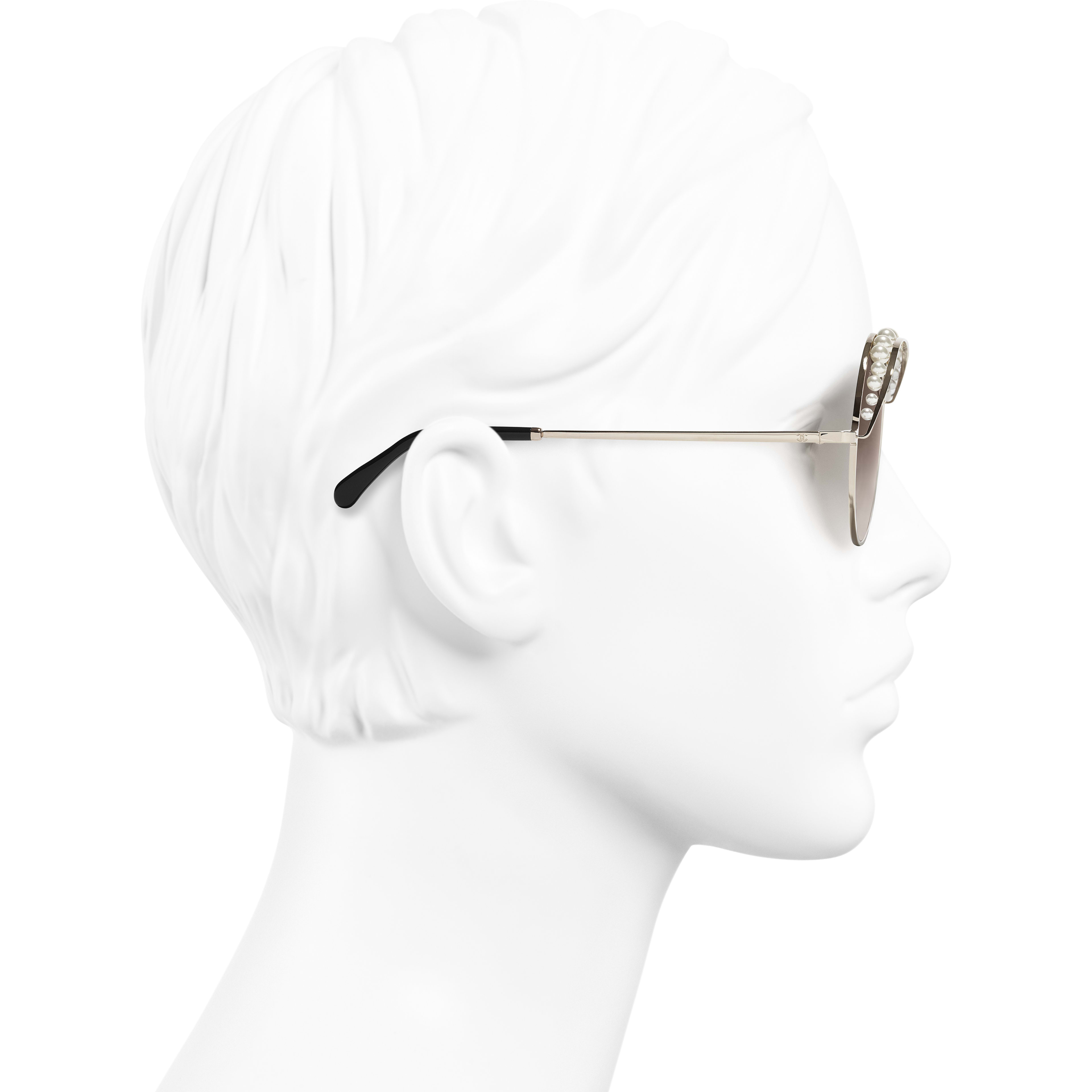 Round Sunglasses - Gold - Metal & Imitation Pearls - Worn side view - see standard sized version