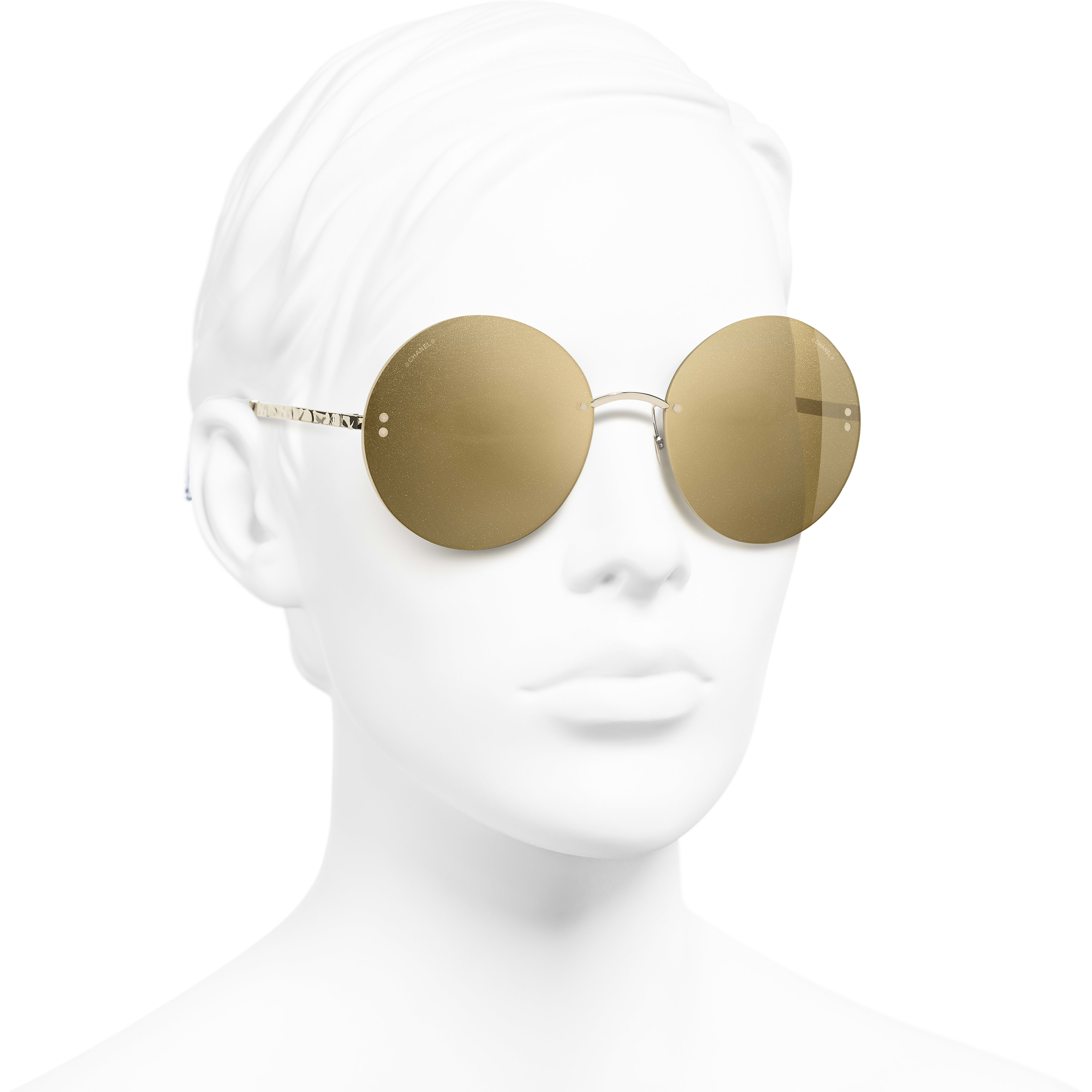 Round Sunglasses - Gold - Metal - Worn 3/4 view - see standard sized version