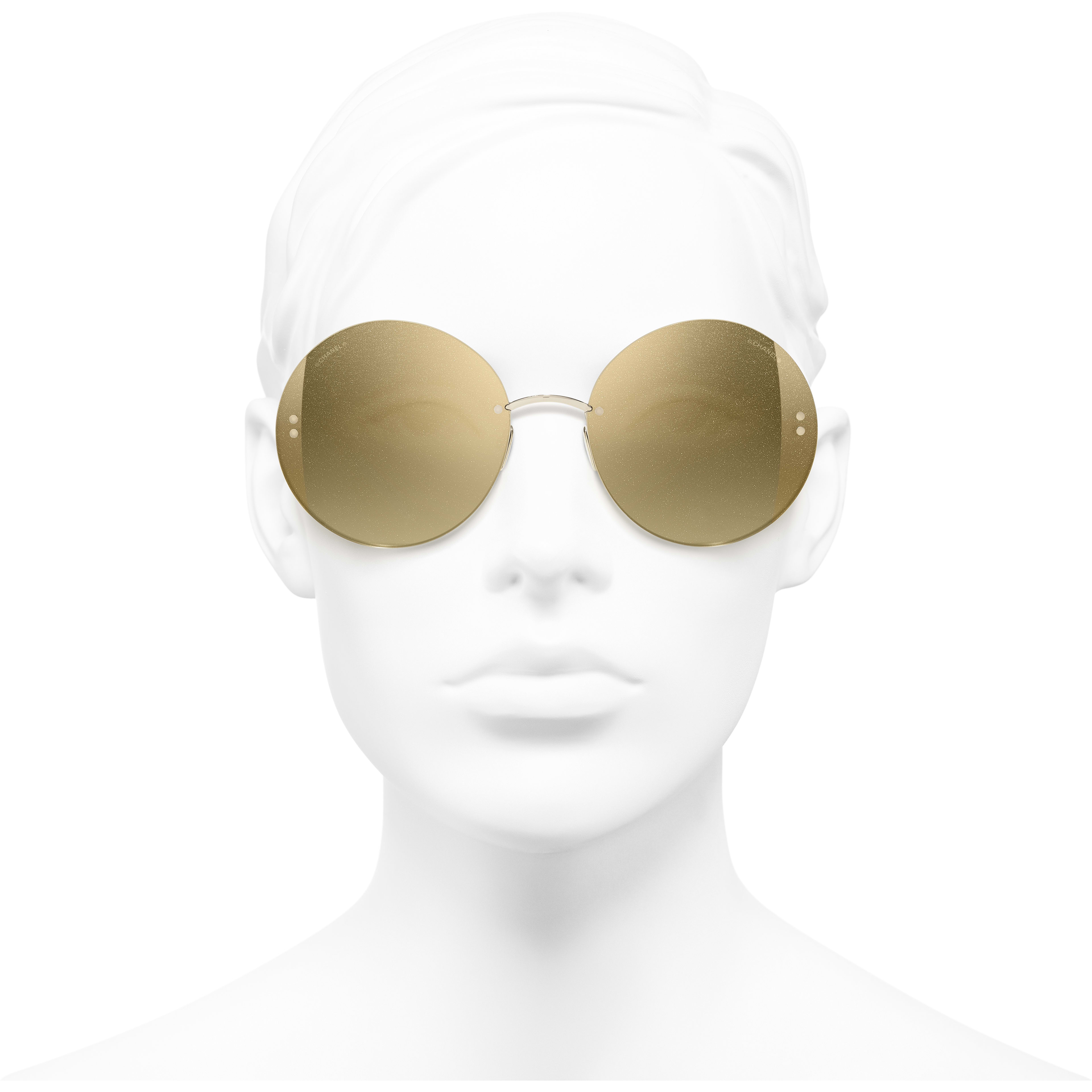 Round Sunglasses - Gold - Metal - Worn front view - see standard sized version