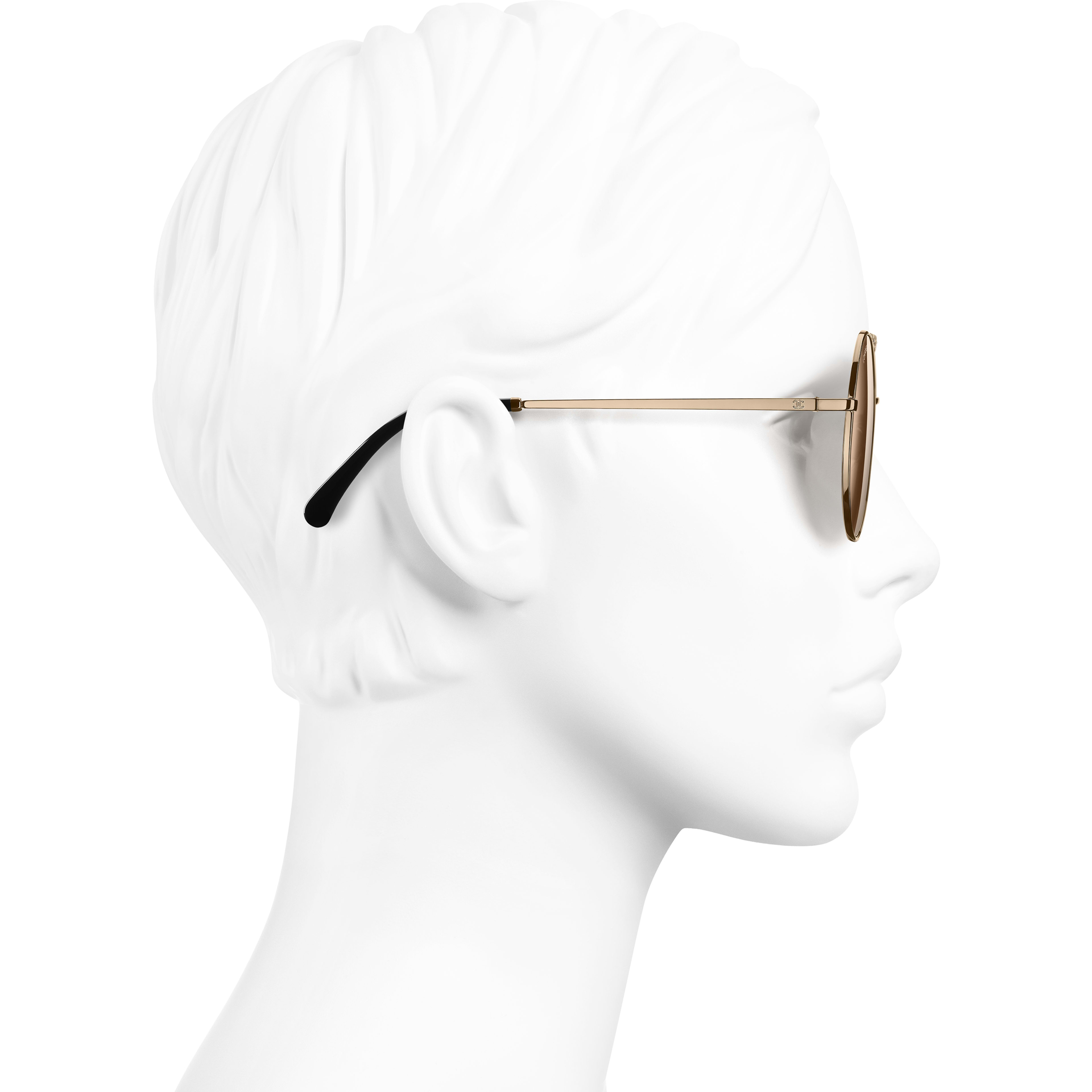 Round Sunglasses - Gold - Metal - Worn side view - see standard sized version