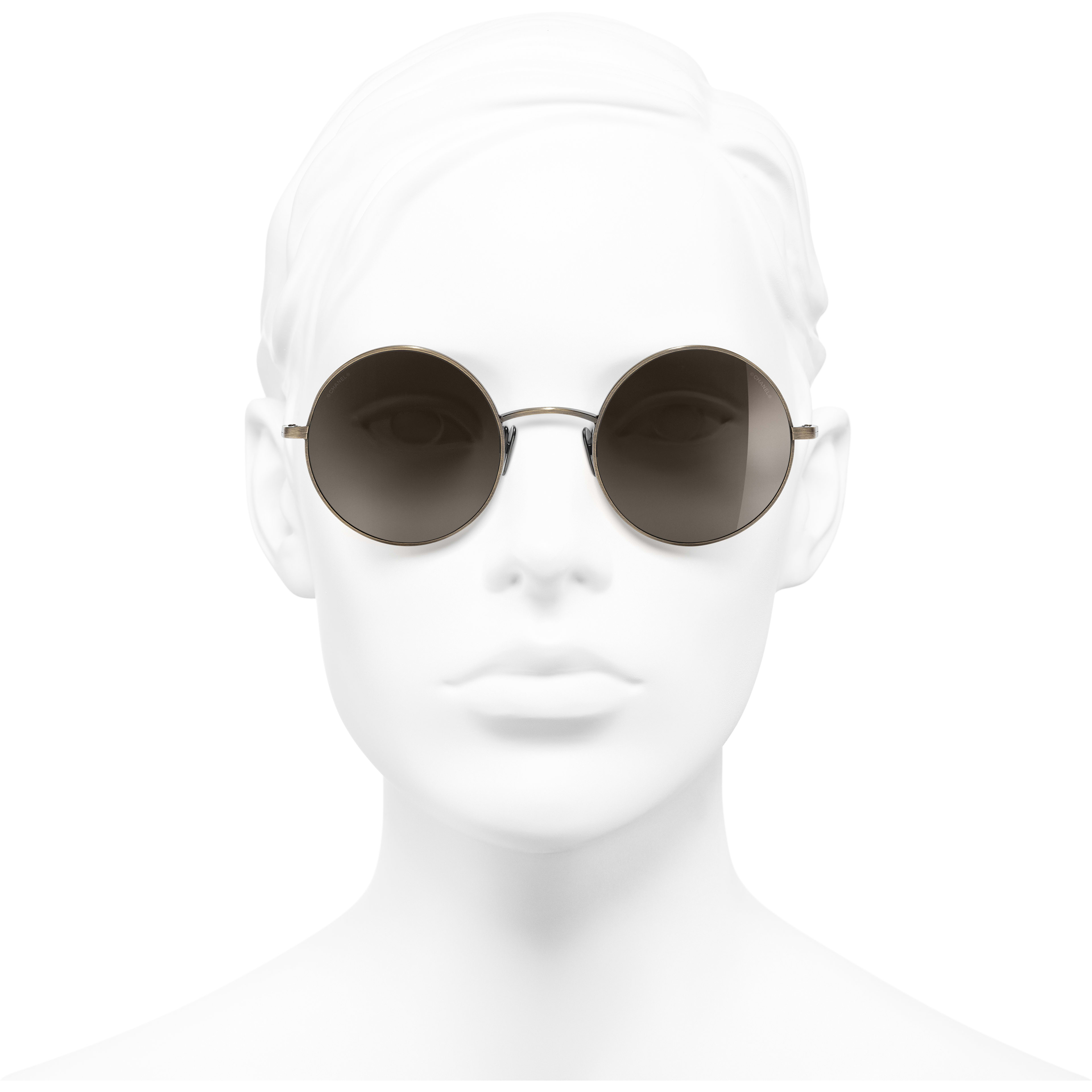 Round Sunglasses - Gold - Titanium - Worn front view - see standard sized version