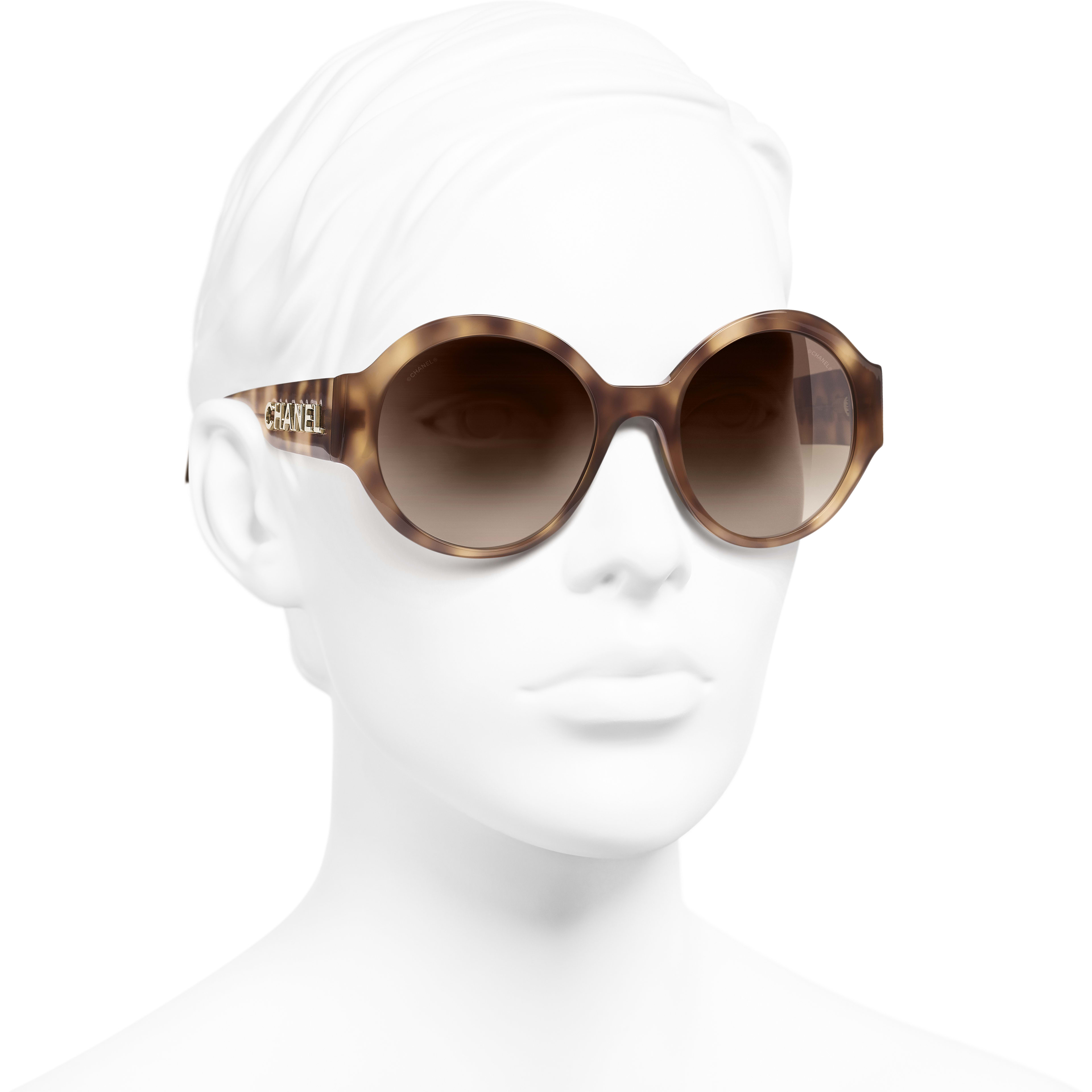 Round Sunglasses - Light Tortoise - Acetate - CHANEL - Worn 3/4 view - see standard sized version