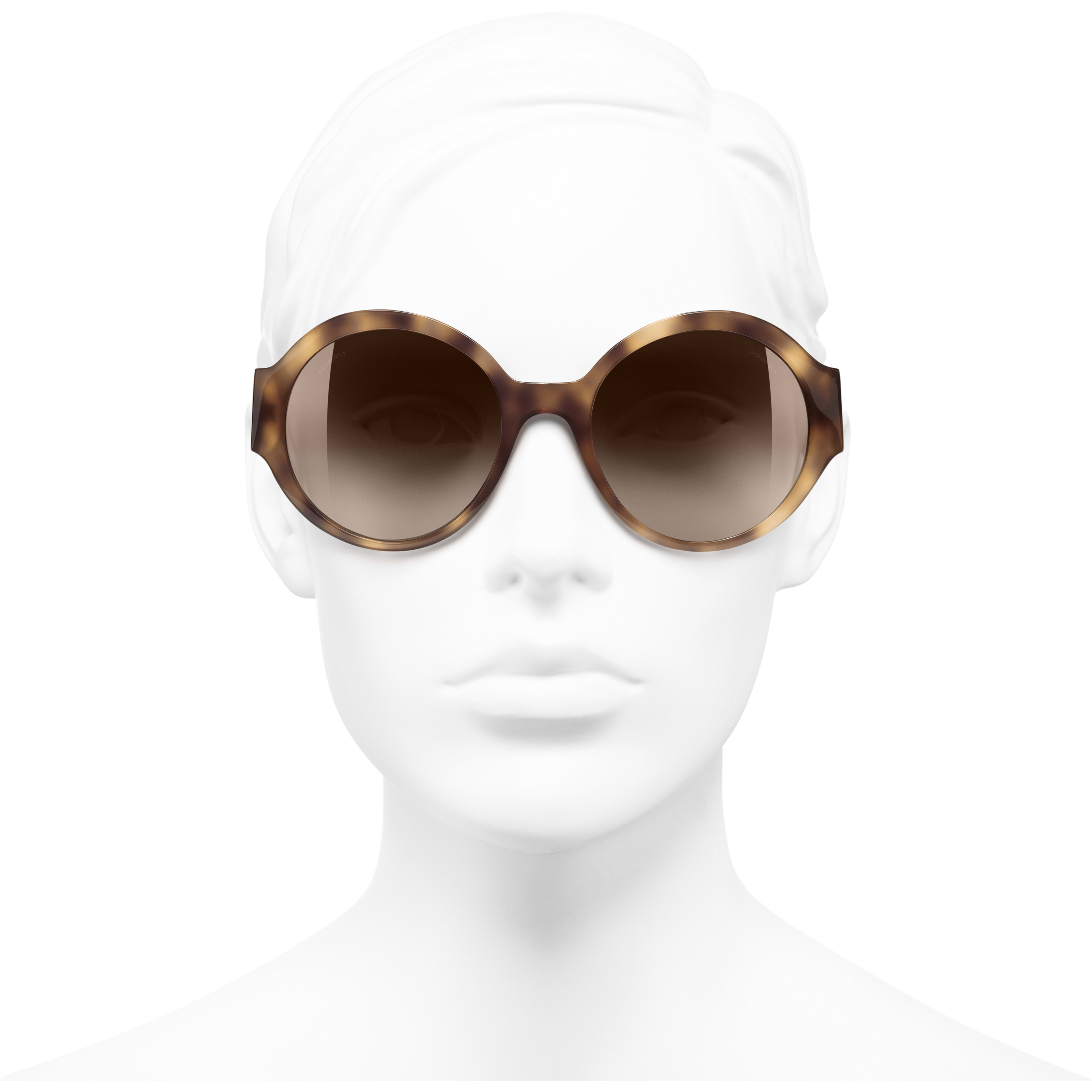 Round Sunglasses - Light Tortoise - Acetate - CHANEL - Worn front view - see standard sized version