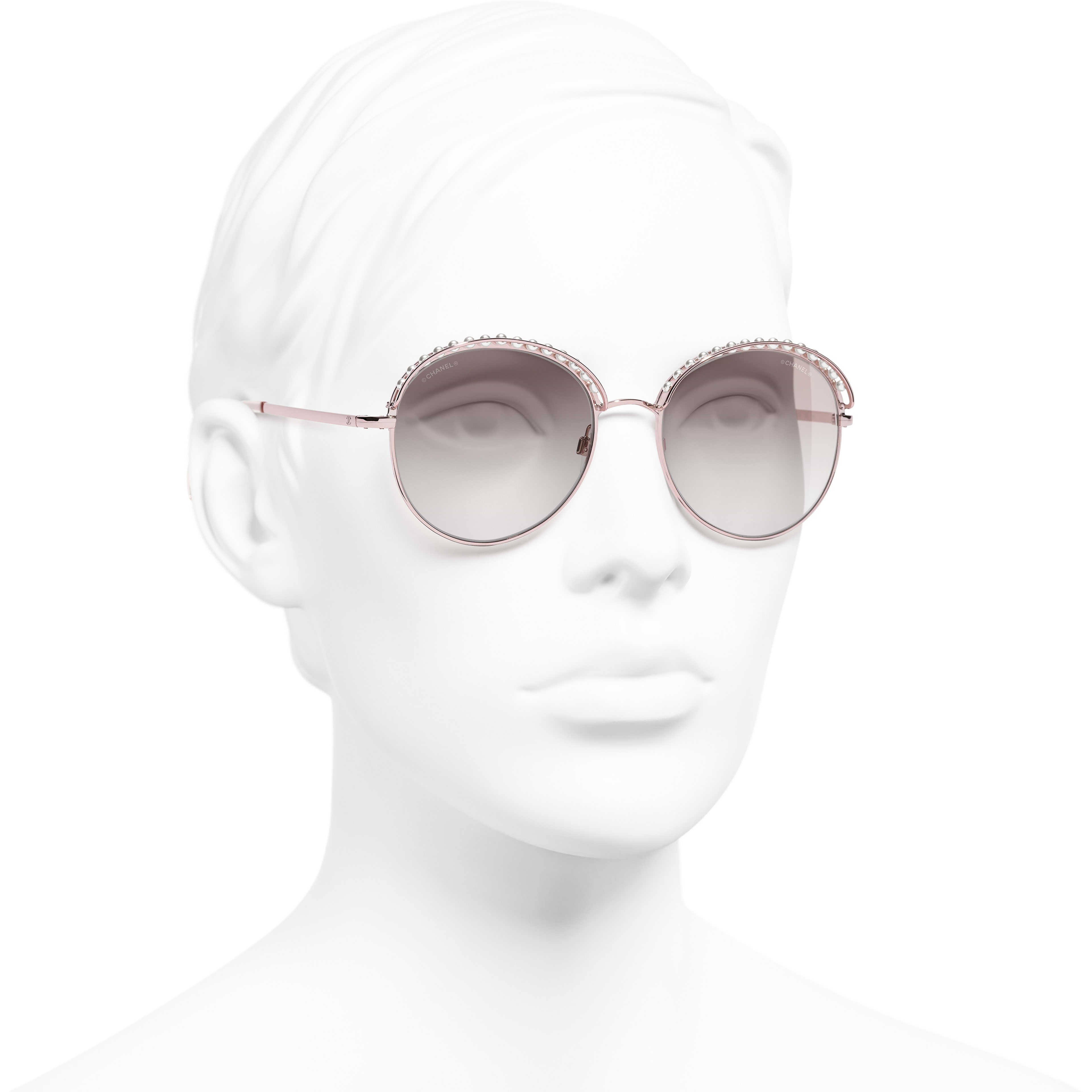 Round Sunglasses - Pinky Gold - Metal & Imitation Pearls - Worn 3/4 view - see standard sized version