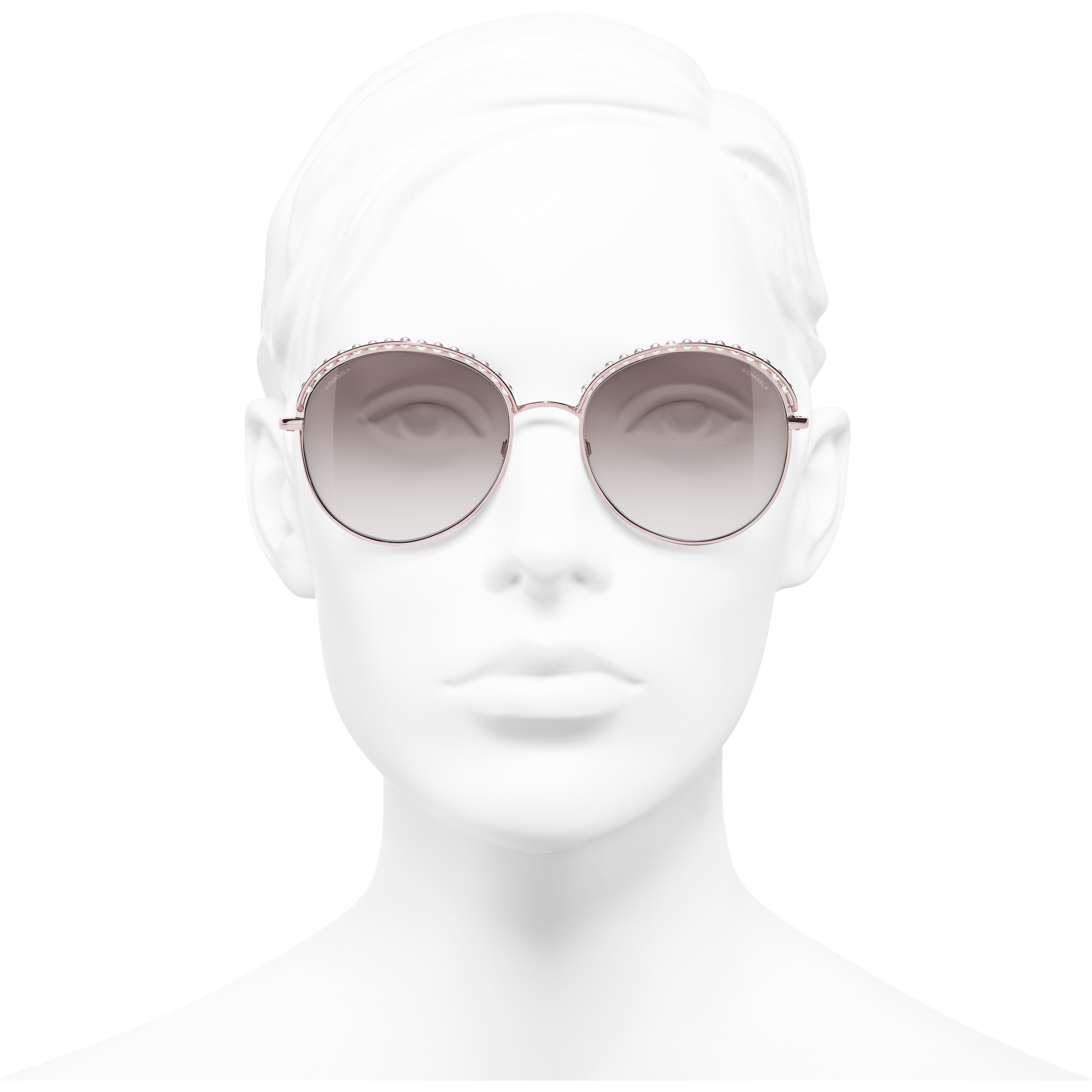 Round Sunglasses - Pinky Gold - Metal & Imitation Pearls - Worn front view - see standard sized version