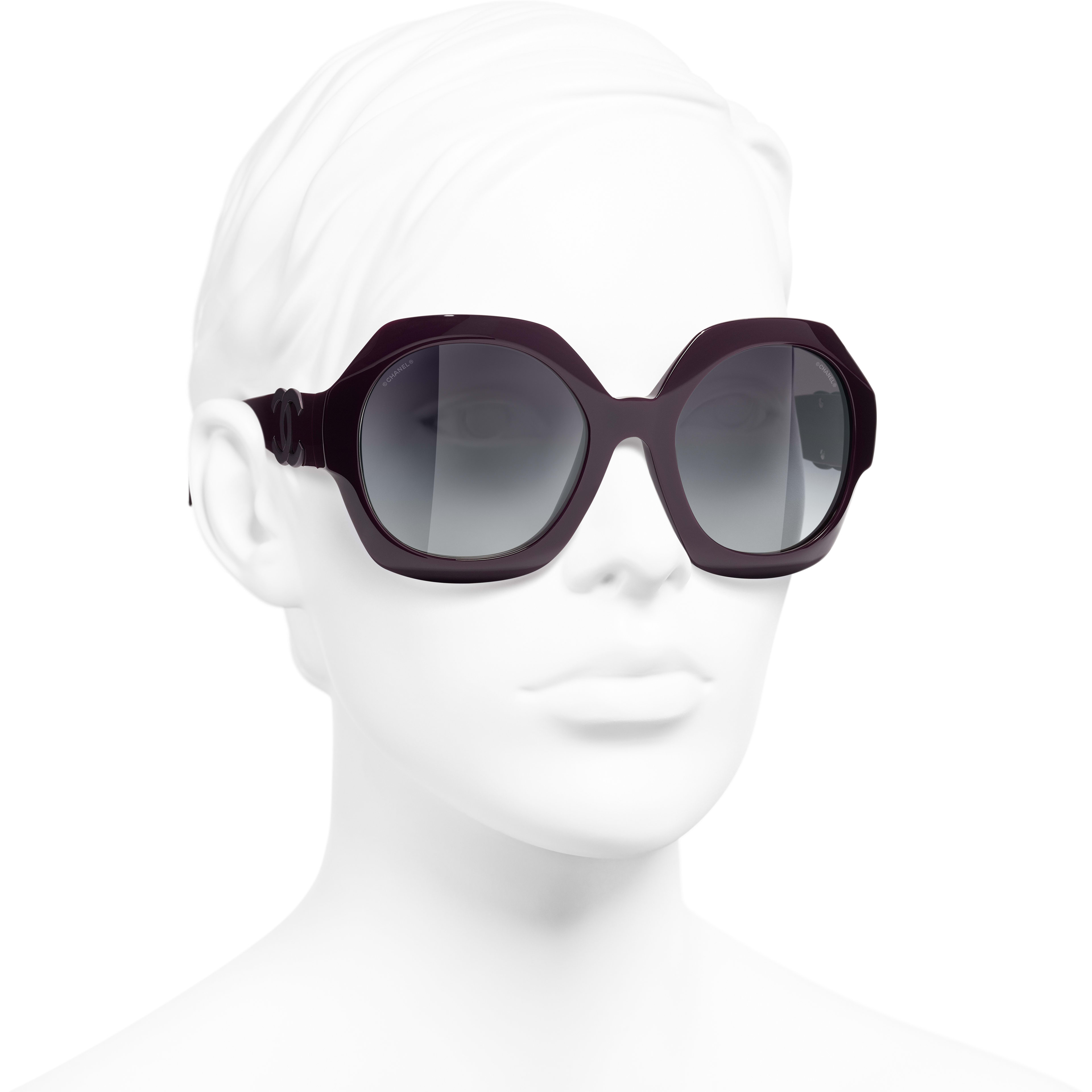 Round Sunglasses - Purple - Acetate - CHANEL - Worn 3/4 view - see standard sized version