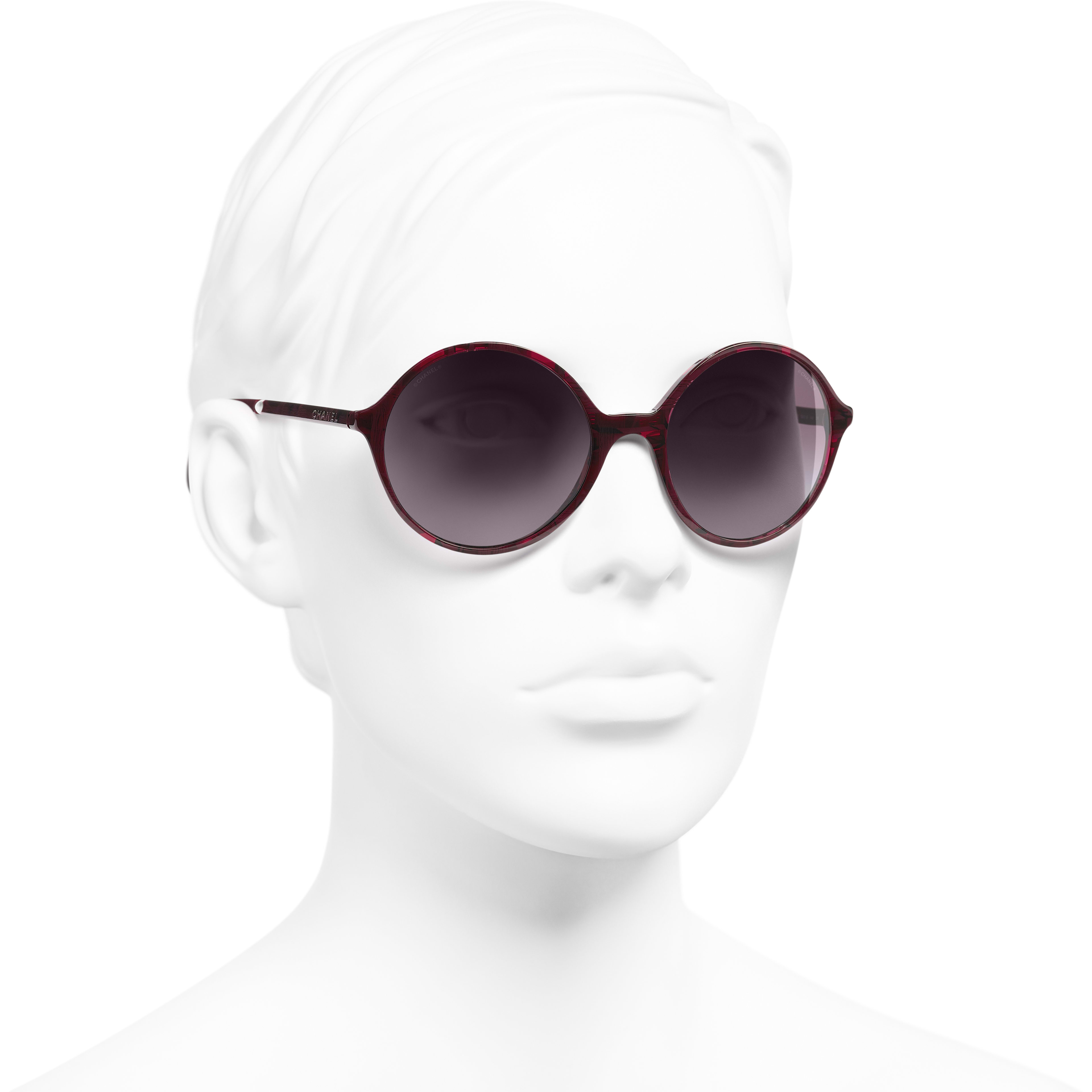 Round Sunglasses - Red - Acetate & Imitation Pearls - Worn 3/4 view - see standard sized version