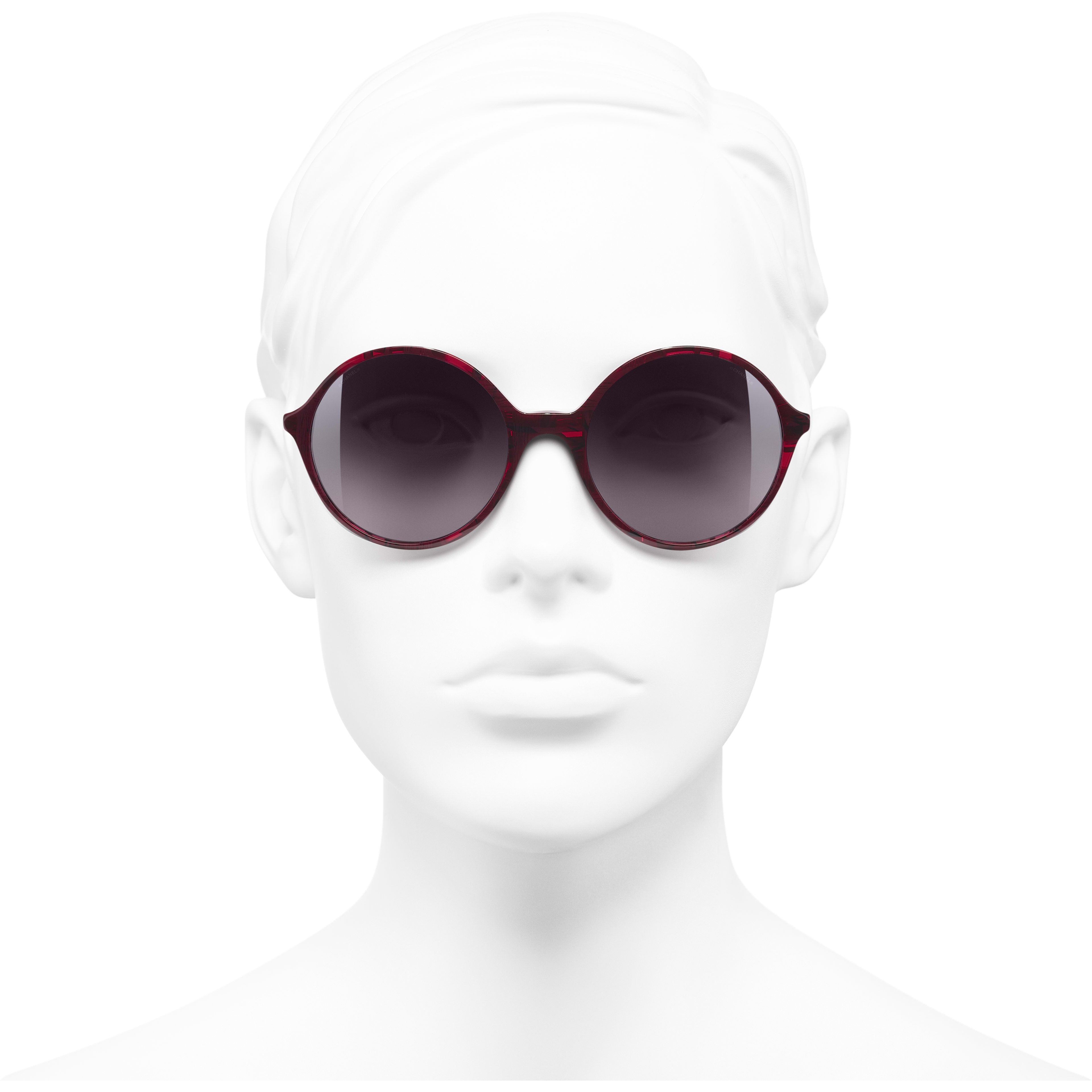 Round Sunglasses - Red - Acetate & Imitation Pearls - Worn front view - see standard sized version