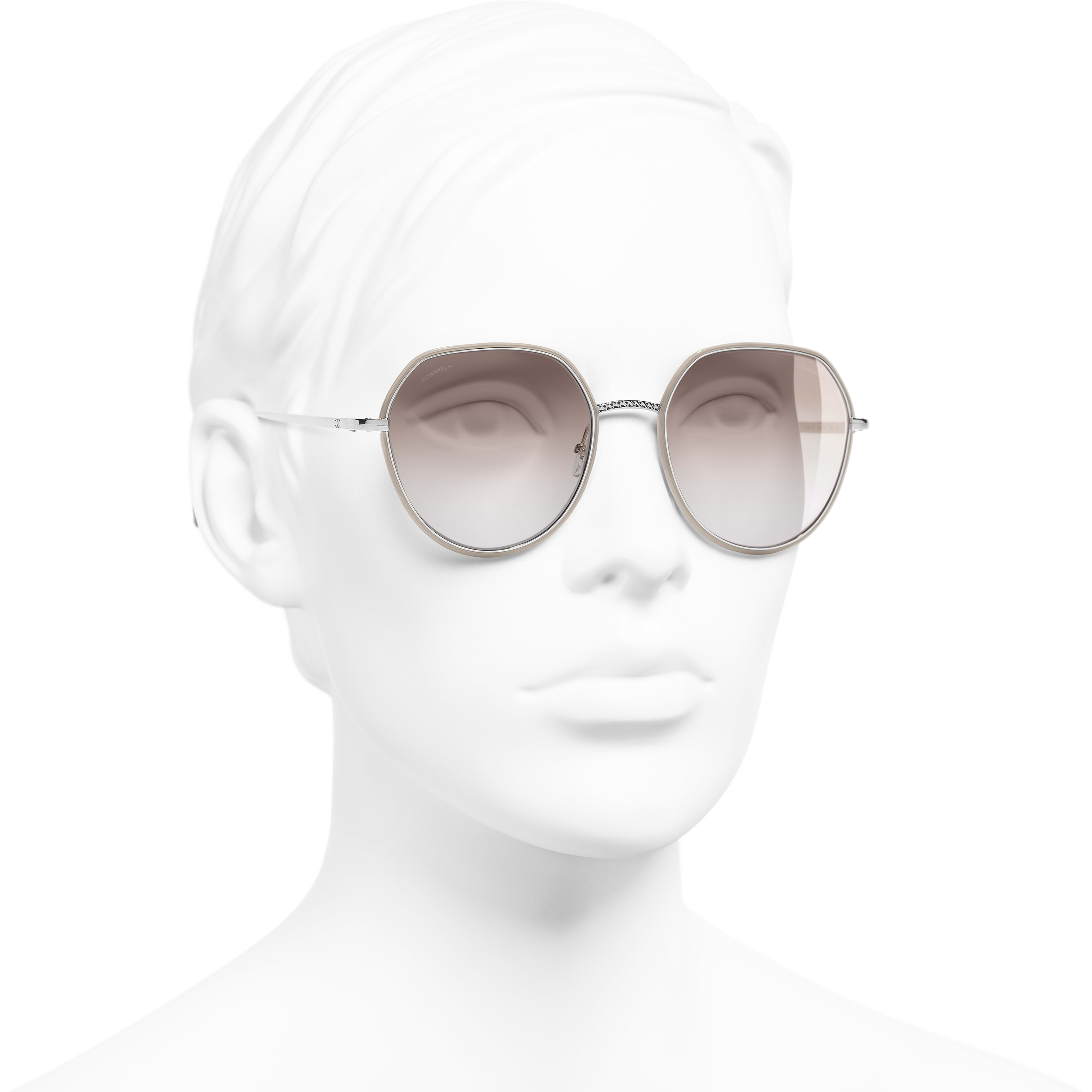 Round Sunglasses - Silver & Beige - Metal - CHANEL - Worn 3/4 view - see standard sized version