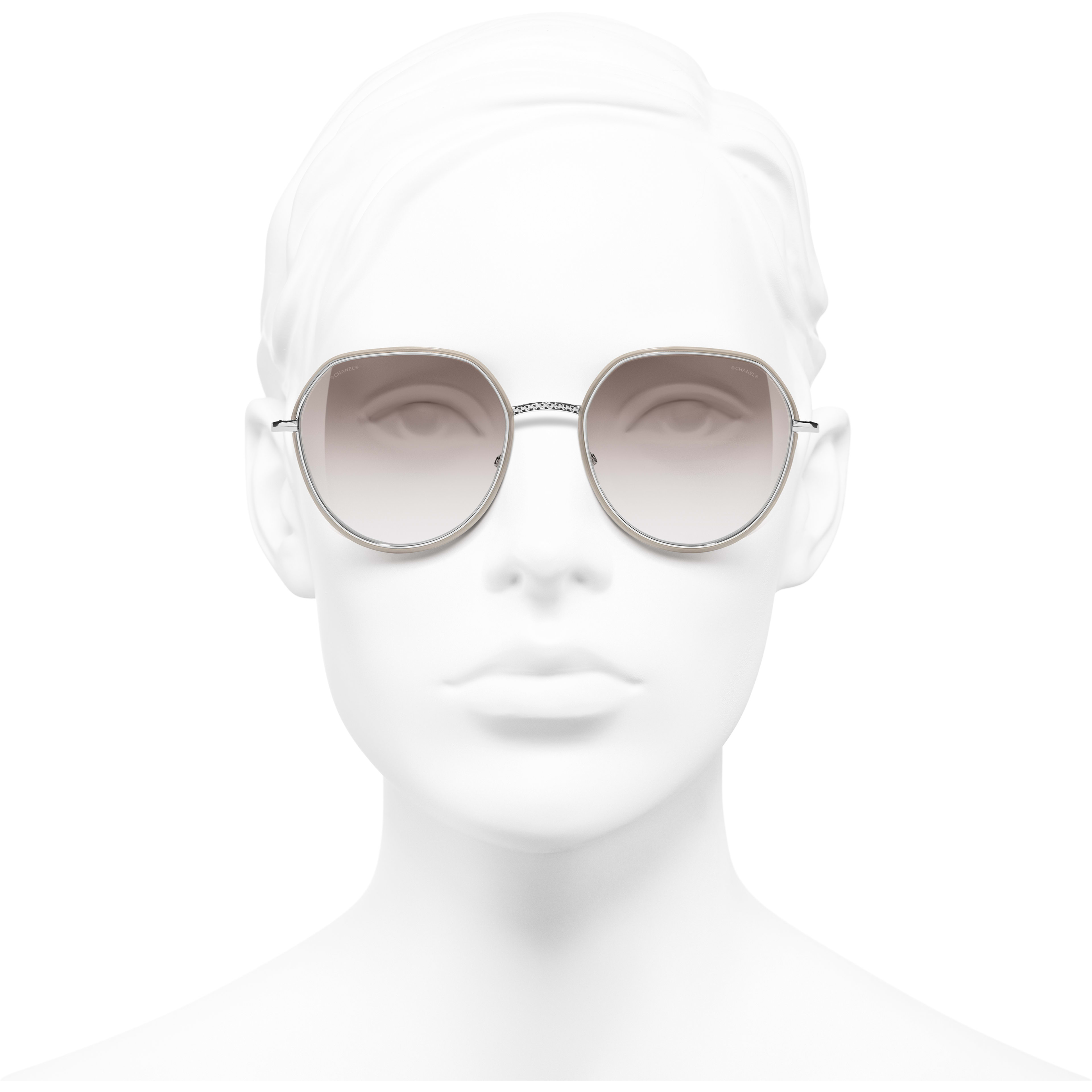 Round Sunglasses - Silver & Beige - Metal - CHANEL - Worn front view - see standard sized version