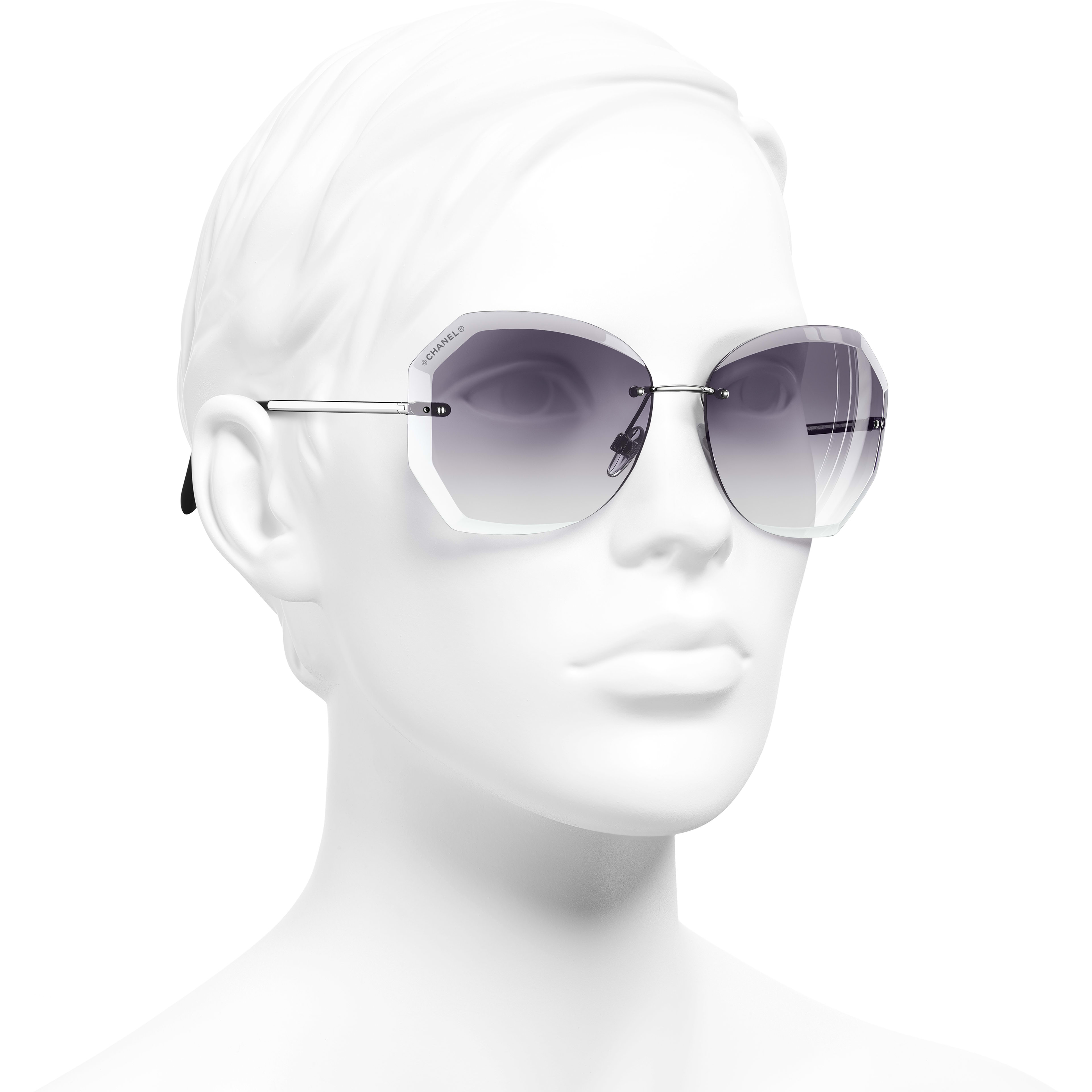 Round Sunglasses - Silver & Grey - Metal - CHANEL - Worn 3/4 view - see standard sized version