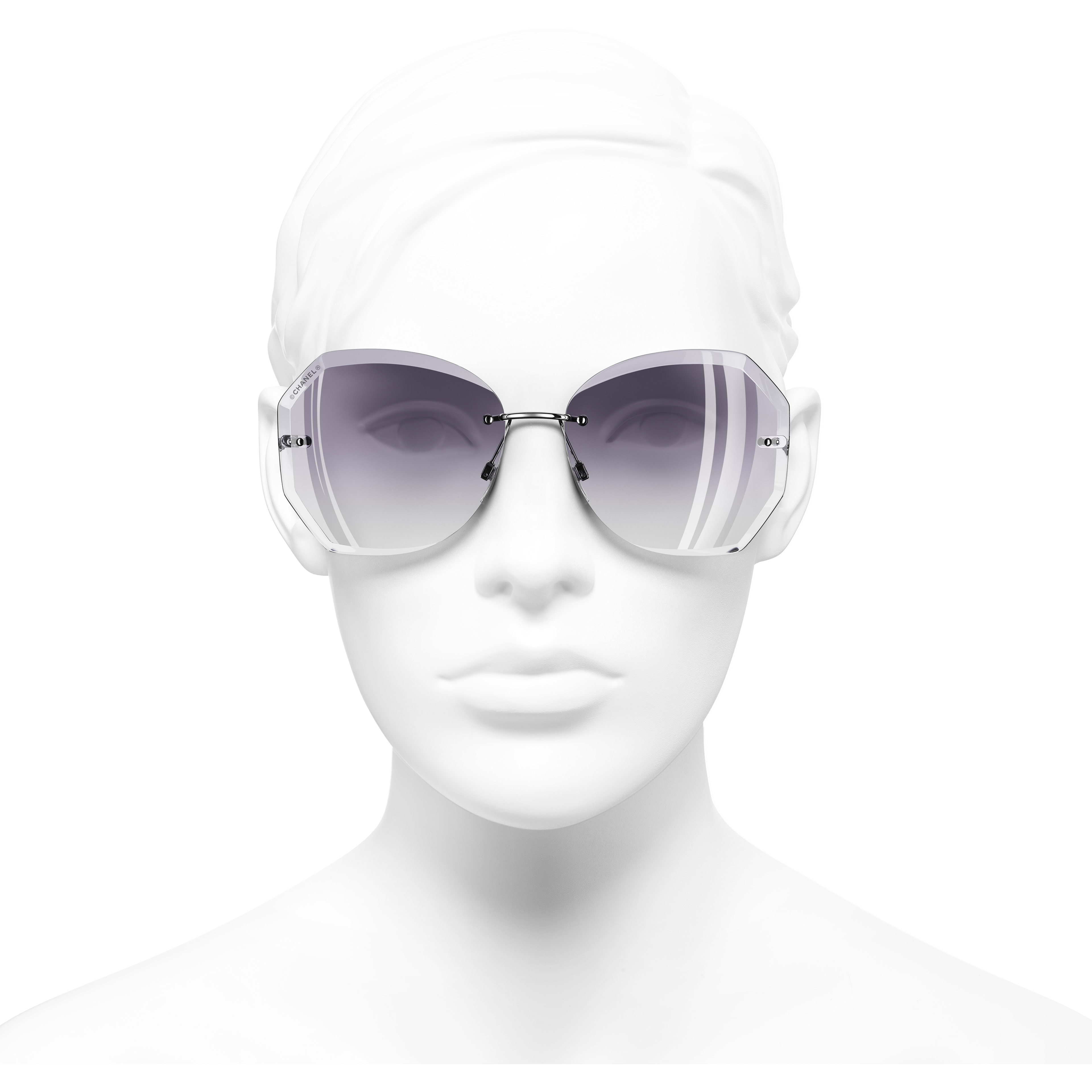 Round Sunglasses - Silver & Grey - Metal - Worn front view - see standard sized version