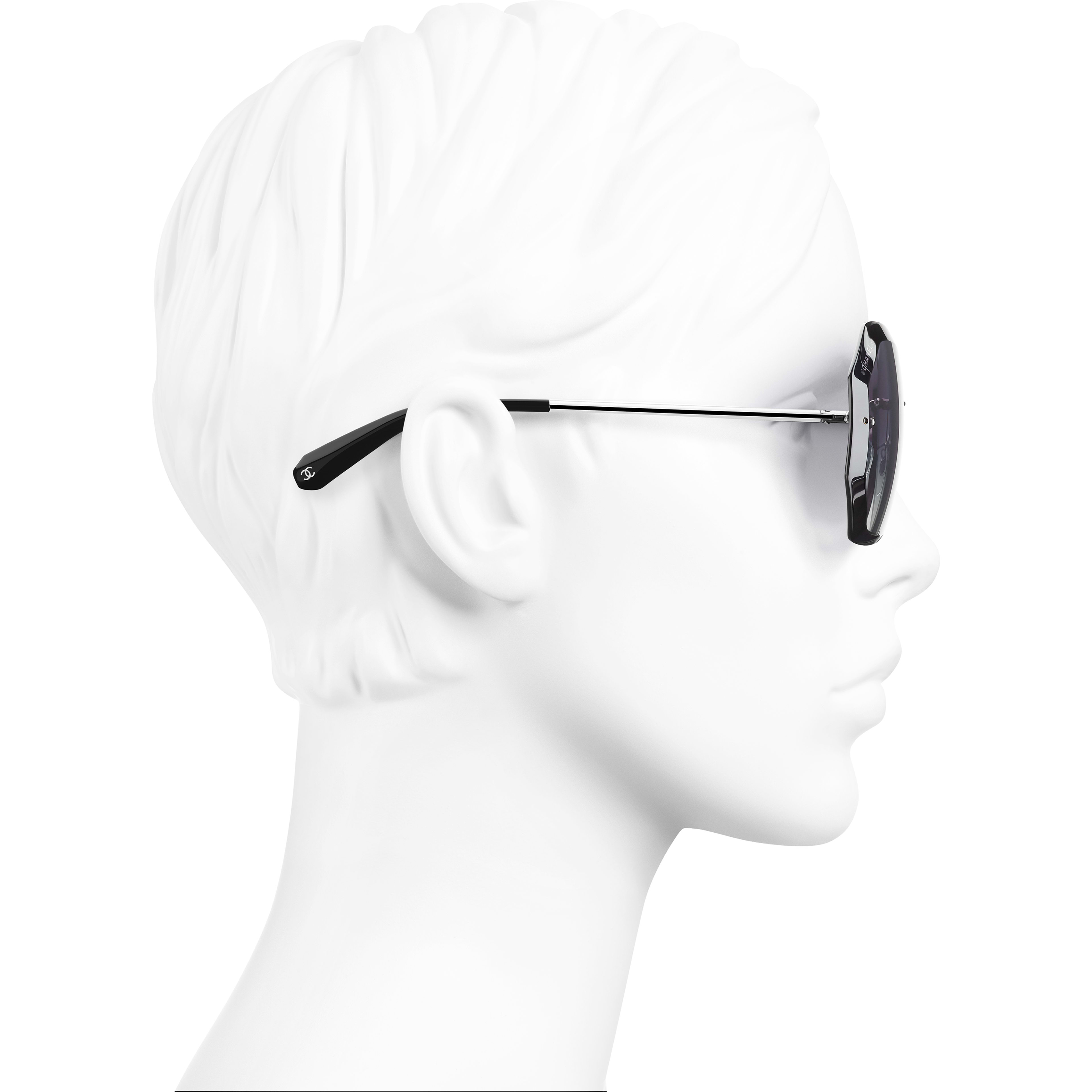 Round Sunglasses - Silver & Grey - Metal - Worn side view - see standard sized version