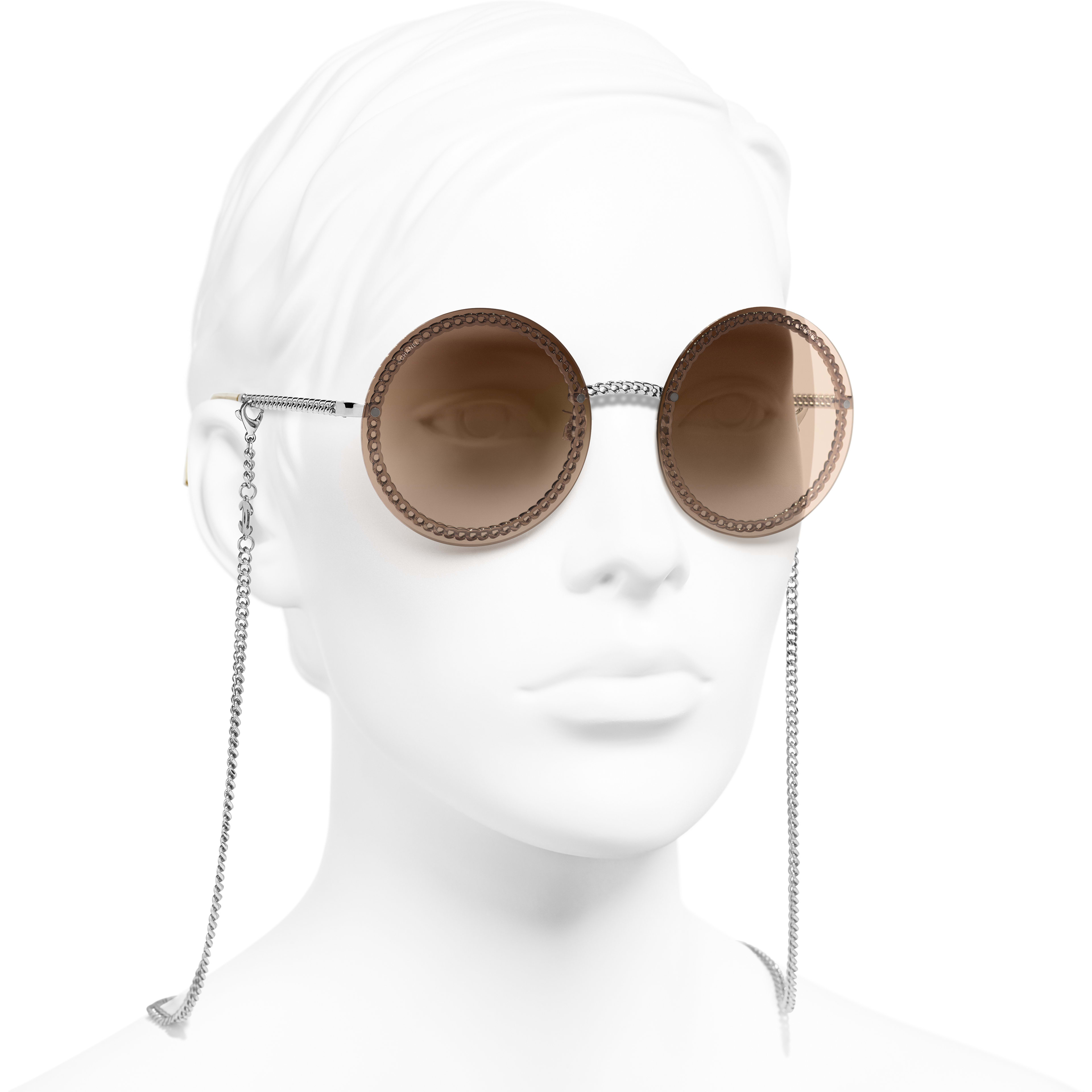 Round Sunglasses - Silver - Metal - CHANEL - Worn 3/4 view - see standard sized version