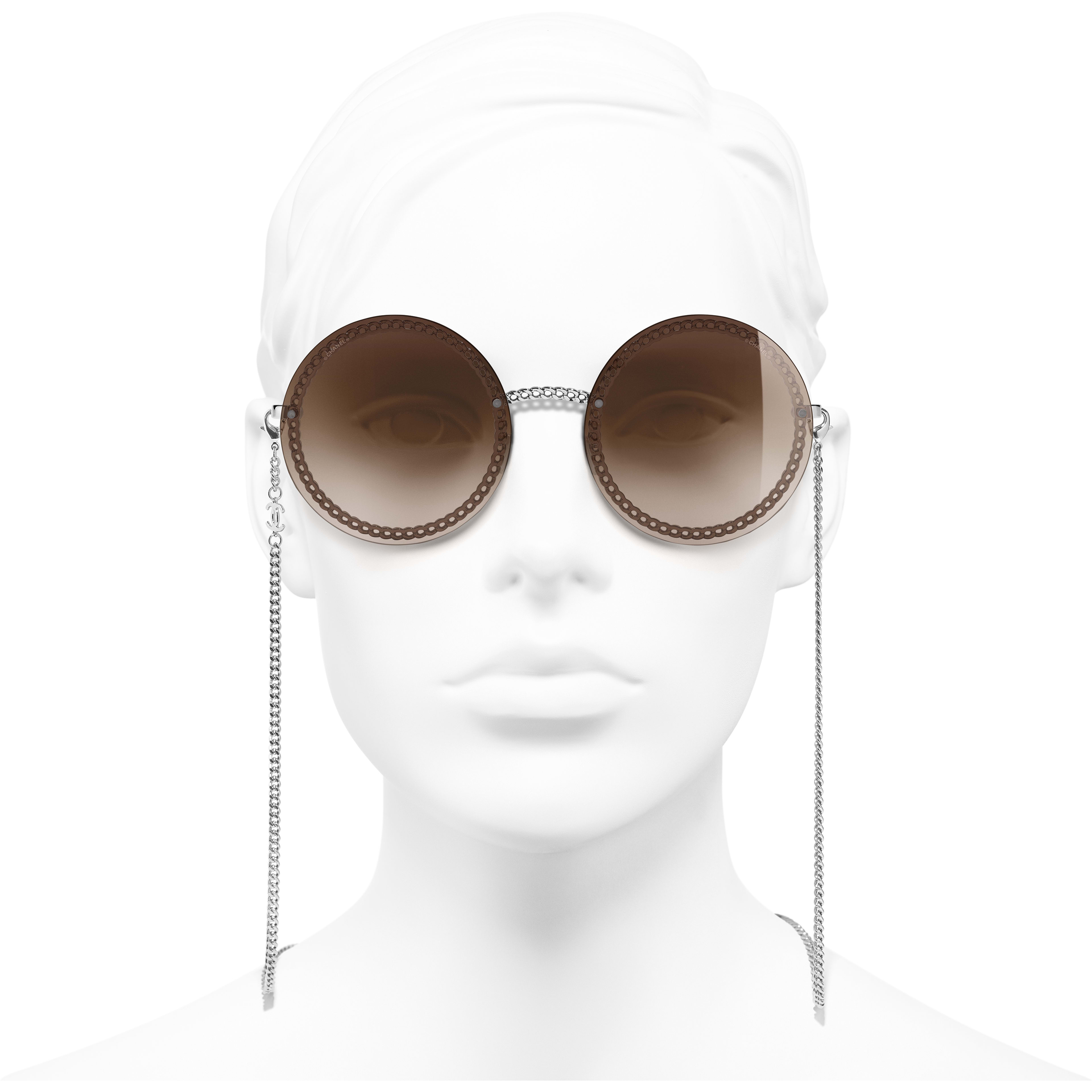 Round Sunglasses - Silver - Metal - CHANEL - Worn front view - see standard sized version