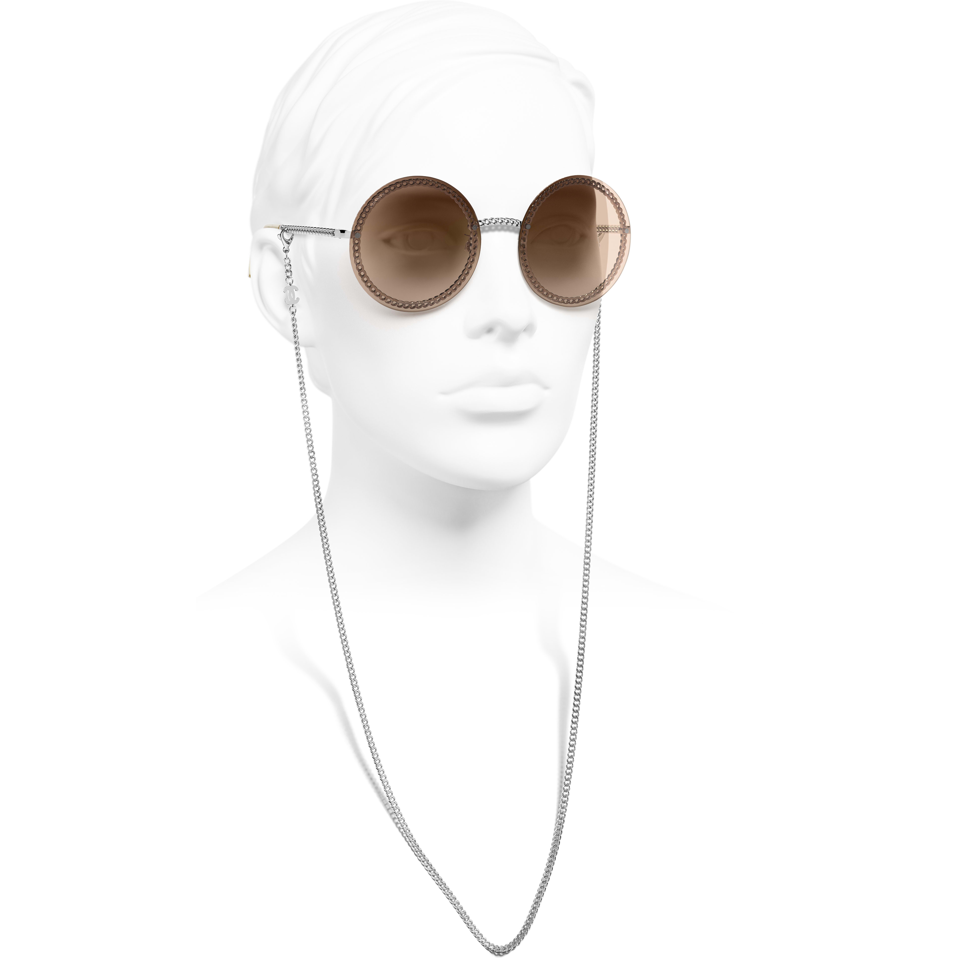 Round Sunglasses - Silver - Metal - CHANEL - Worn side view - see standard sized version