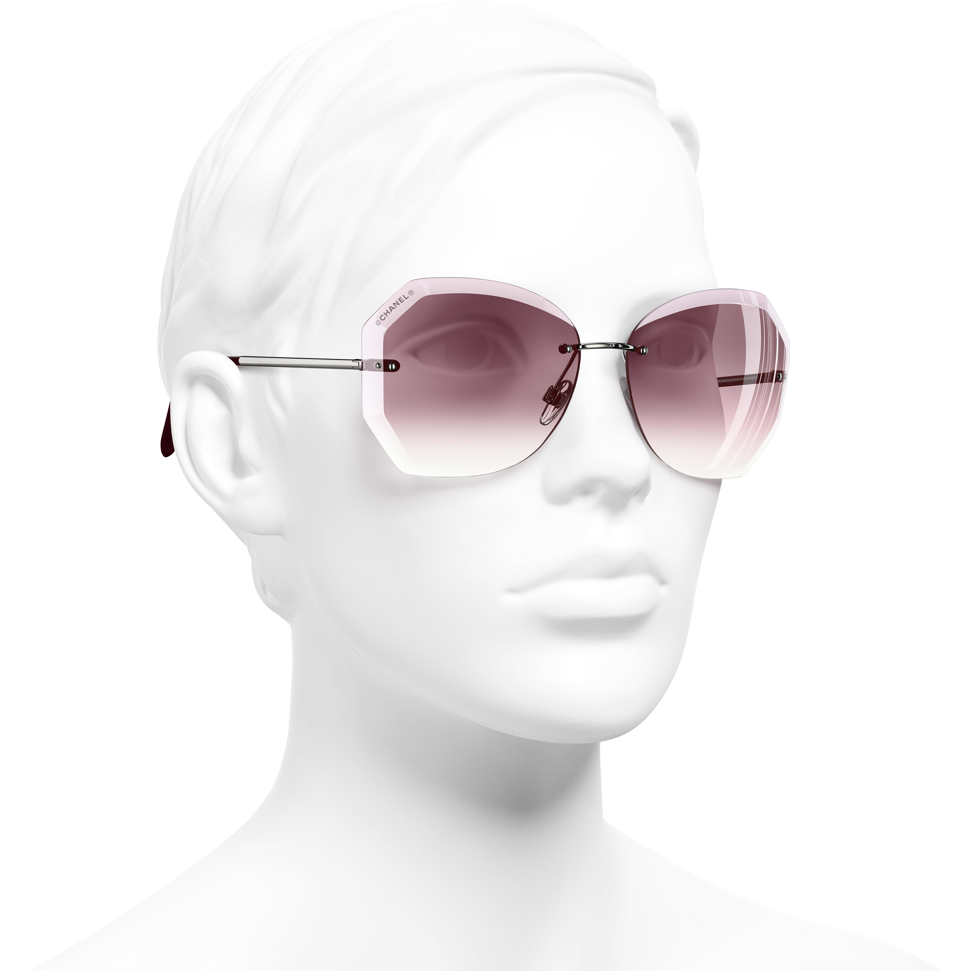 Round Sunglasses - Silver & Pink - Metal - Worn 3/4 view - see standard sized version