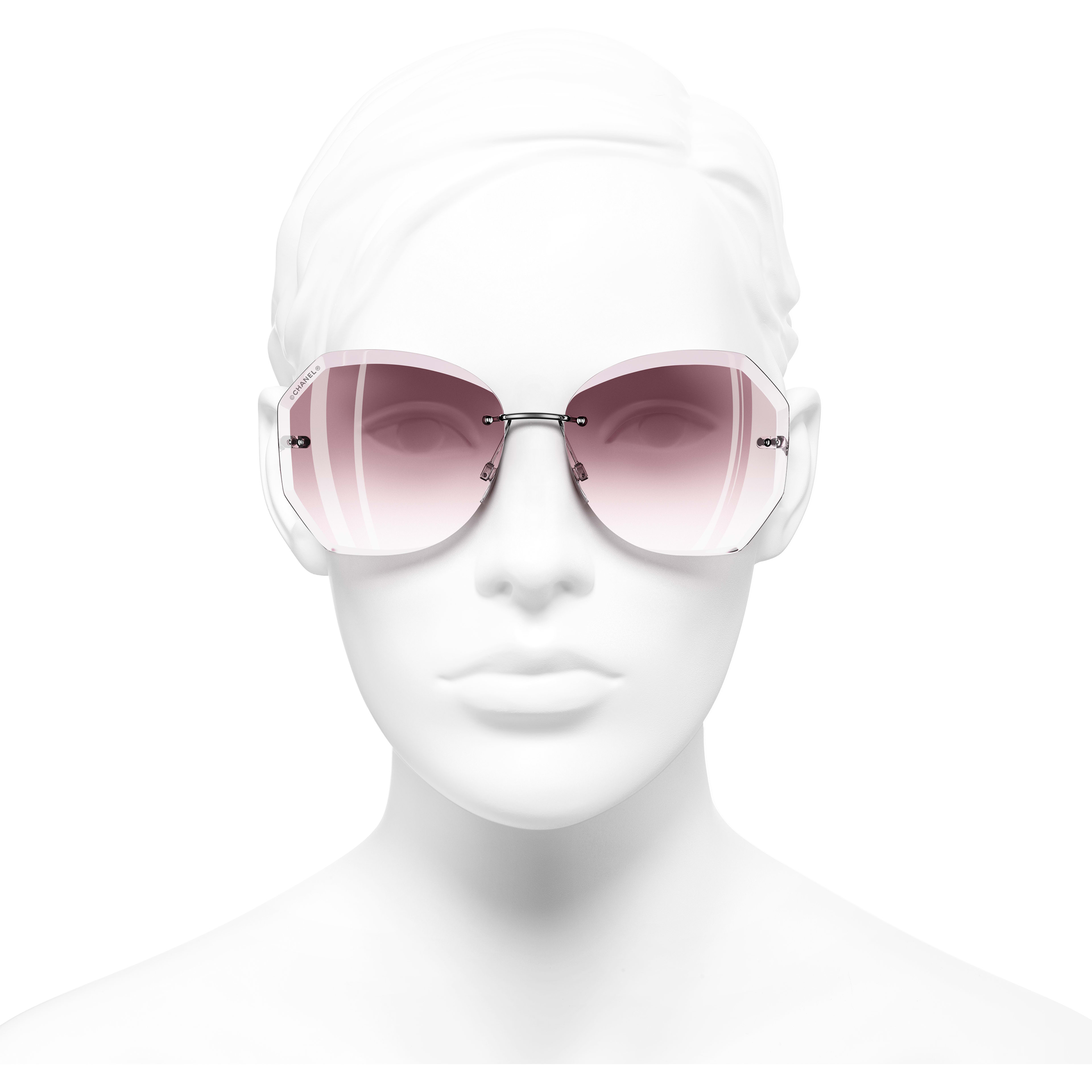 Round Sunglasses - Silver & Pink - Metal - Worn front view - see standard sized version