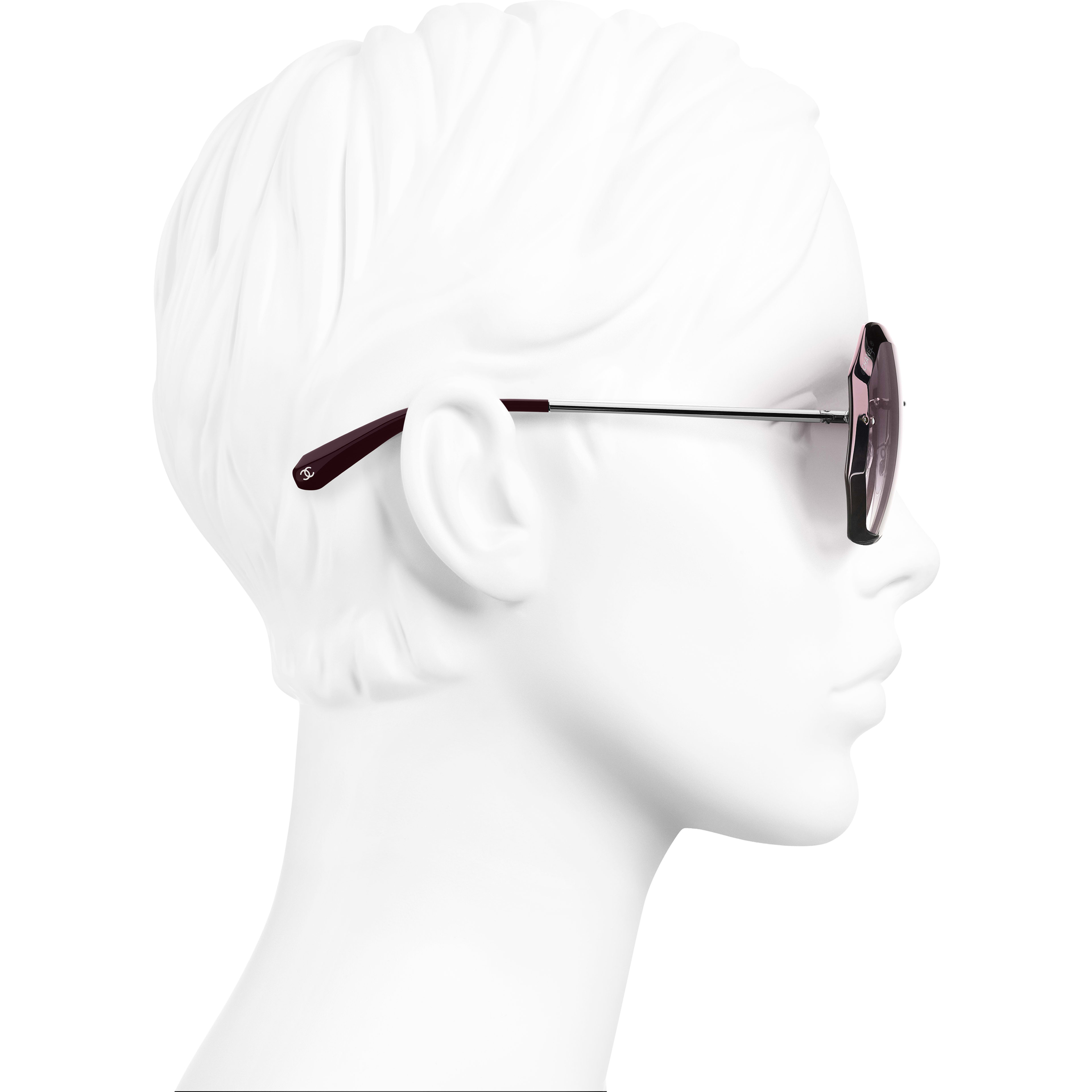 Round Sunglasses - Silver & Pink - Metal - Worn side view - see standard sized version