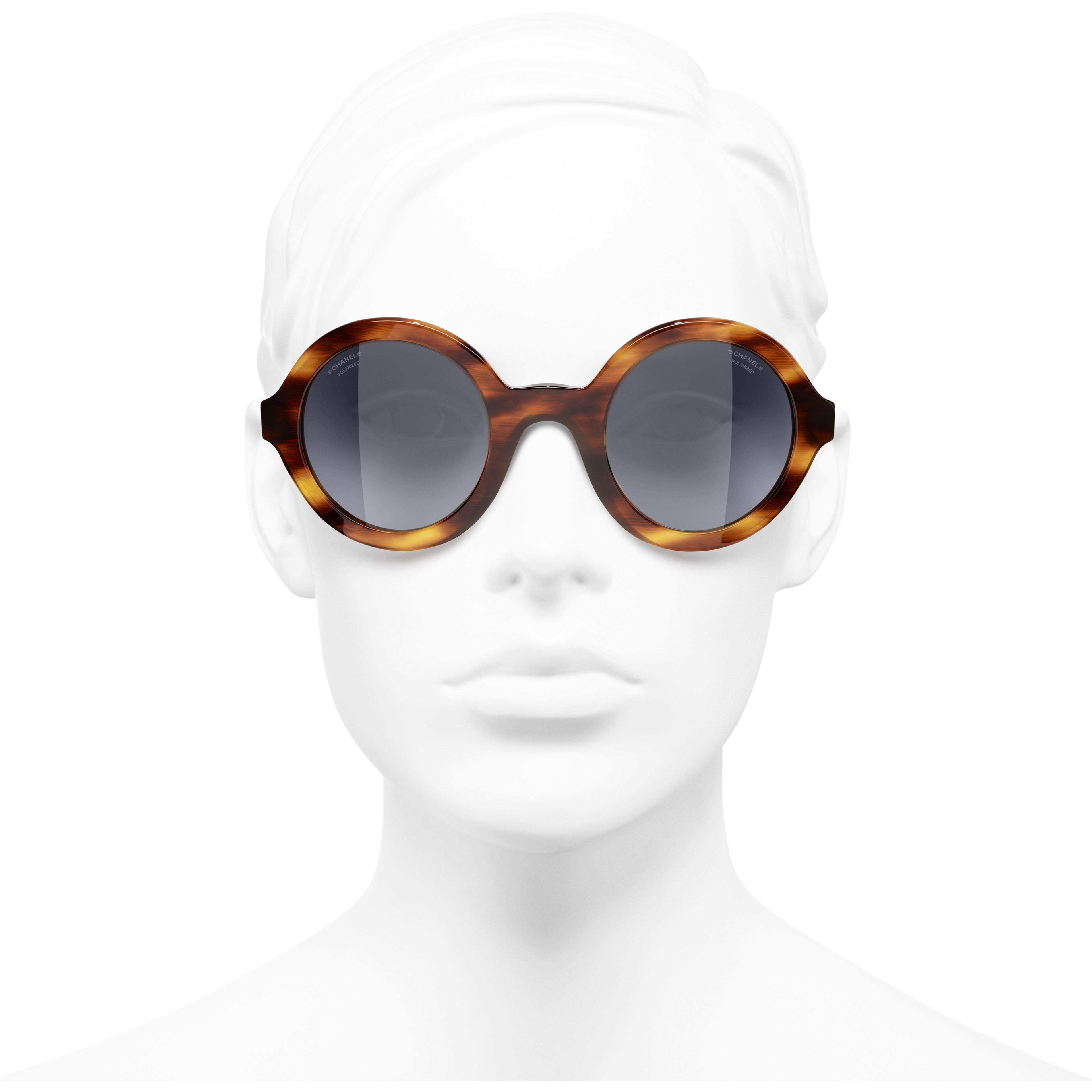 Round Sunglasses - Tortoise - Acetate & Metal - CHANEL - Worn front view - see standard sized version