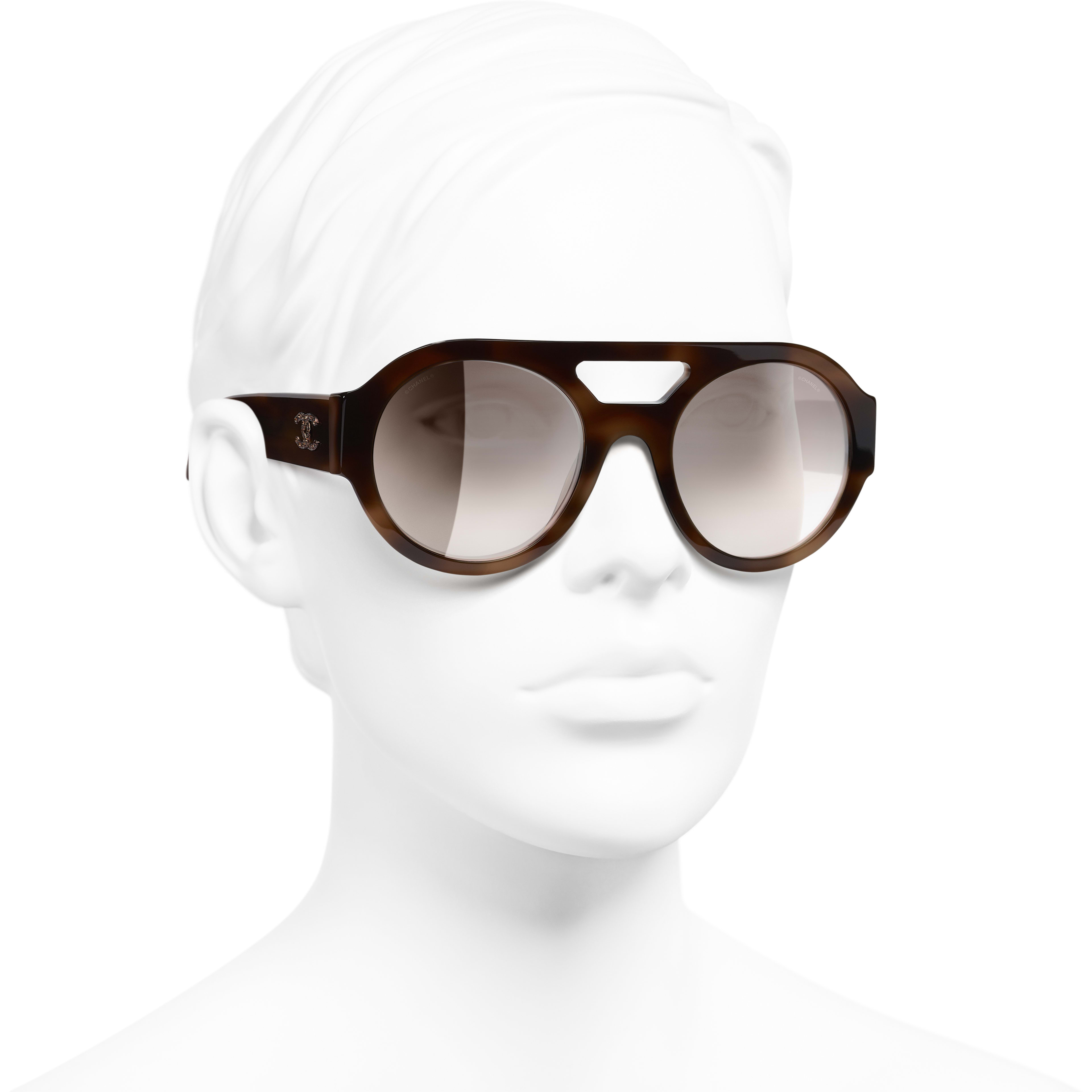 Round Sunglasses - Tortoise - Acetate & Diamanté - CHANEL - Worn 3/4 view - see standard sized version