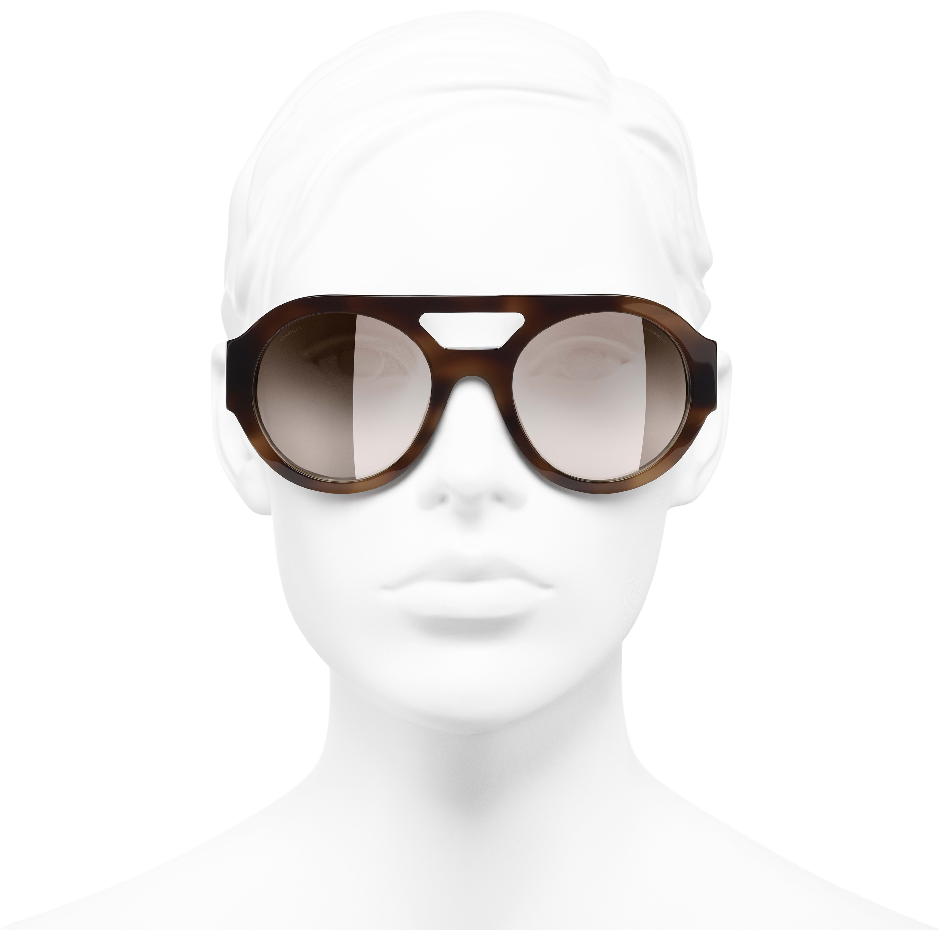 Round Sunglasses - Tortoise - Acetate & Diamanté - CHANEL - Worn front view - see standard sized version