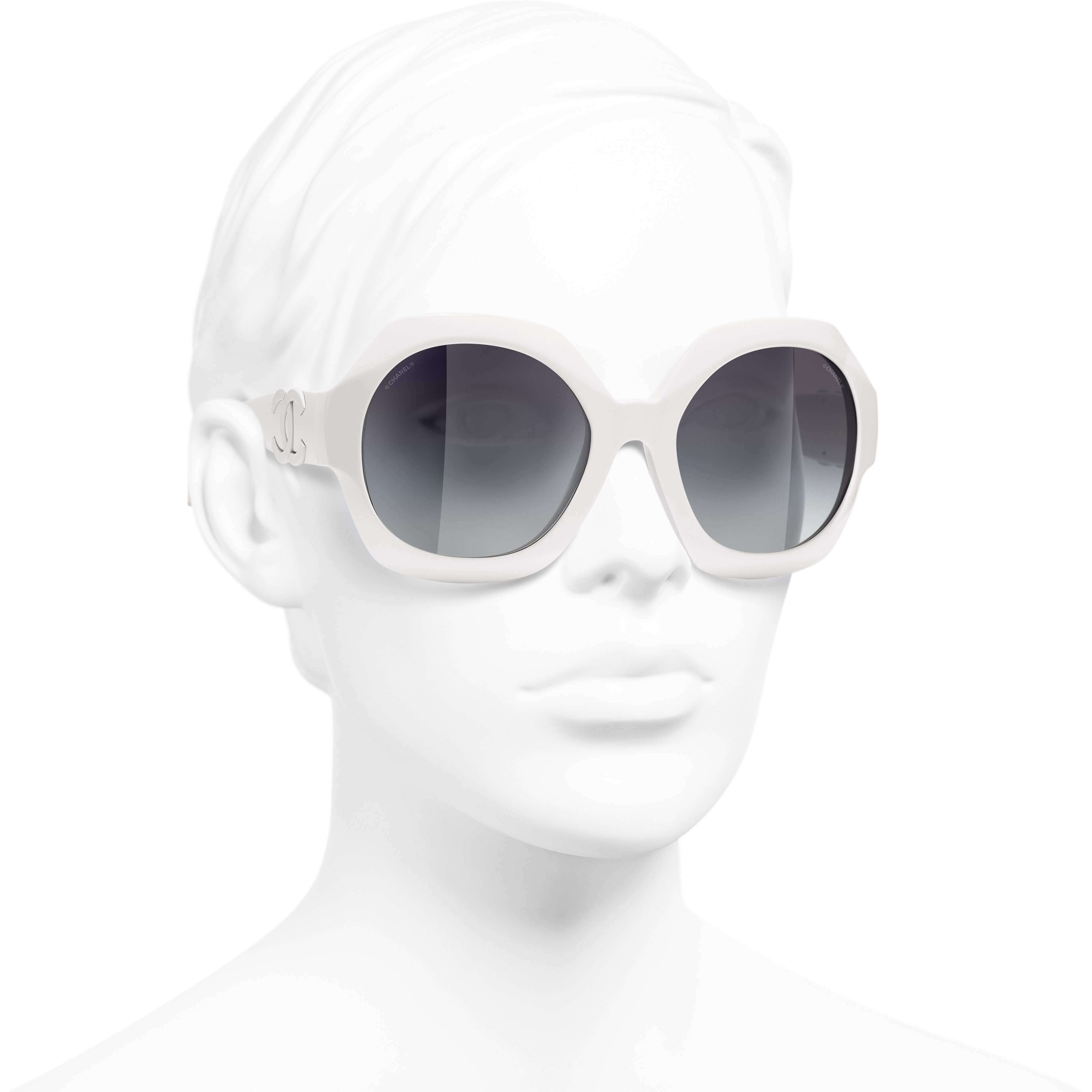Round Sunglasses - White - Acetate - CHANEL - Worn 3/4 view - see standard sized version