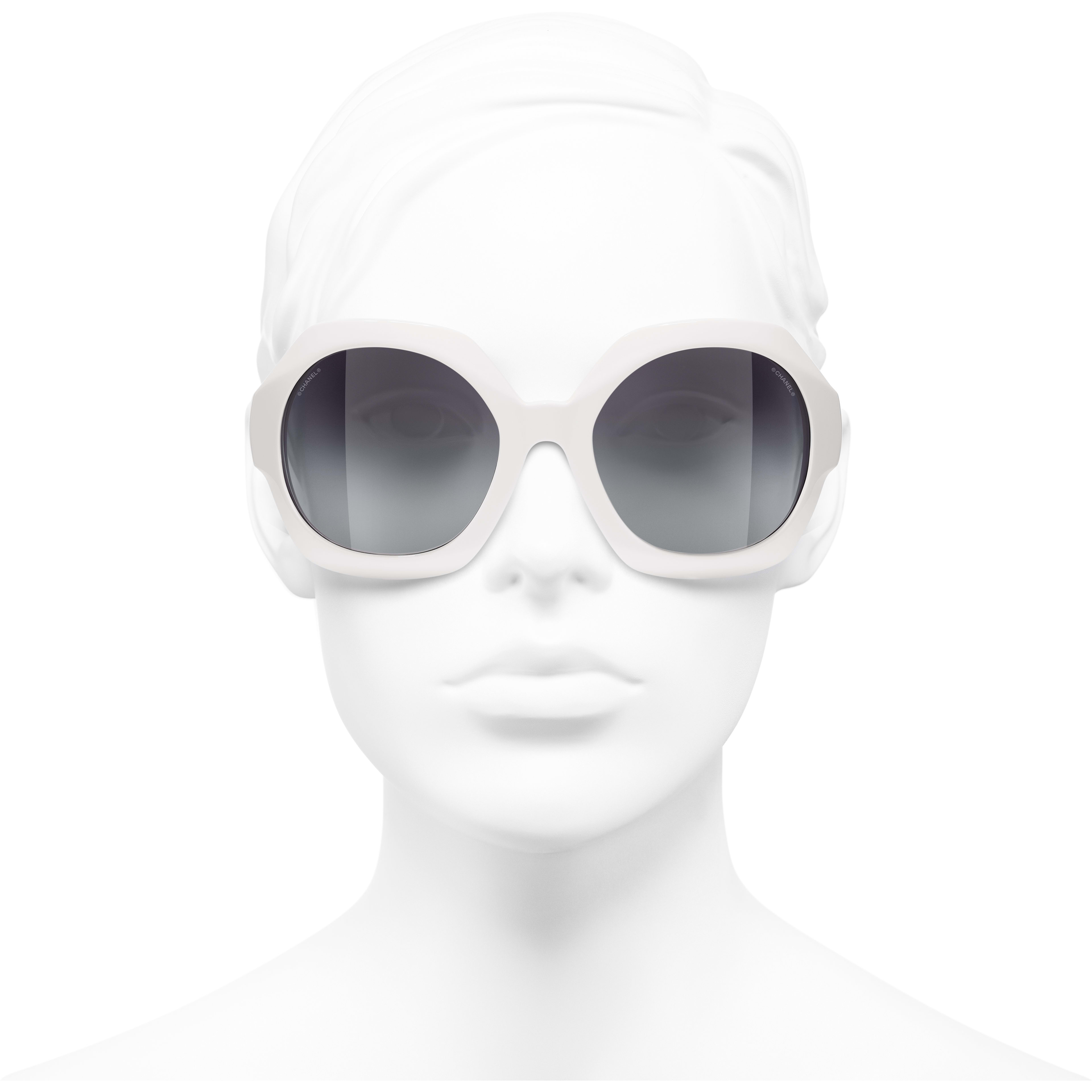 Round Sunglasses - White - Acetate - CHANEL - Worn front view - see standard sized version