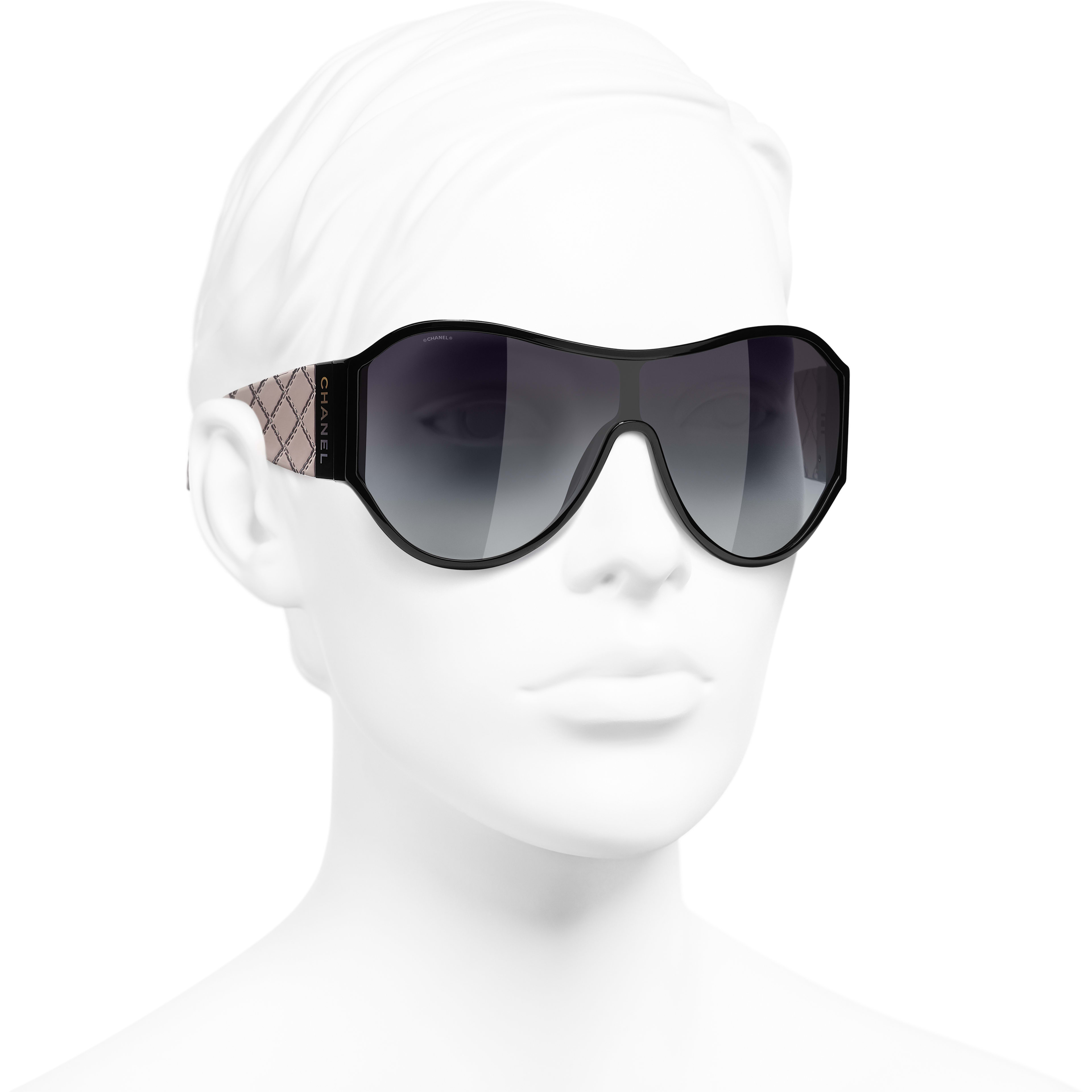 Shield Sunglasses - Black - Acetate - CHANEL - Worn 3/4 view - see standard sized version